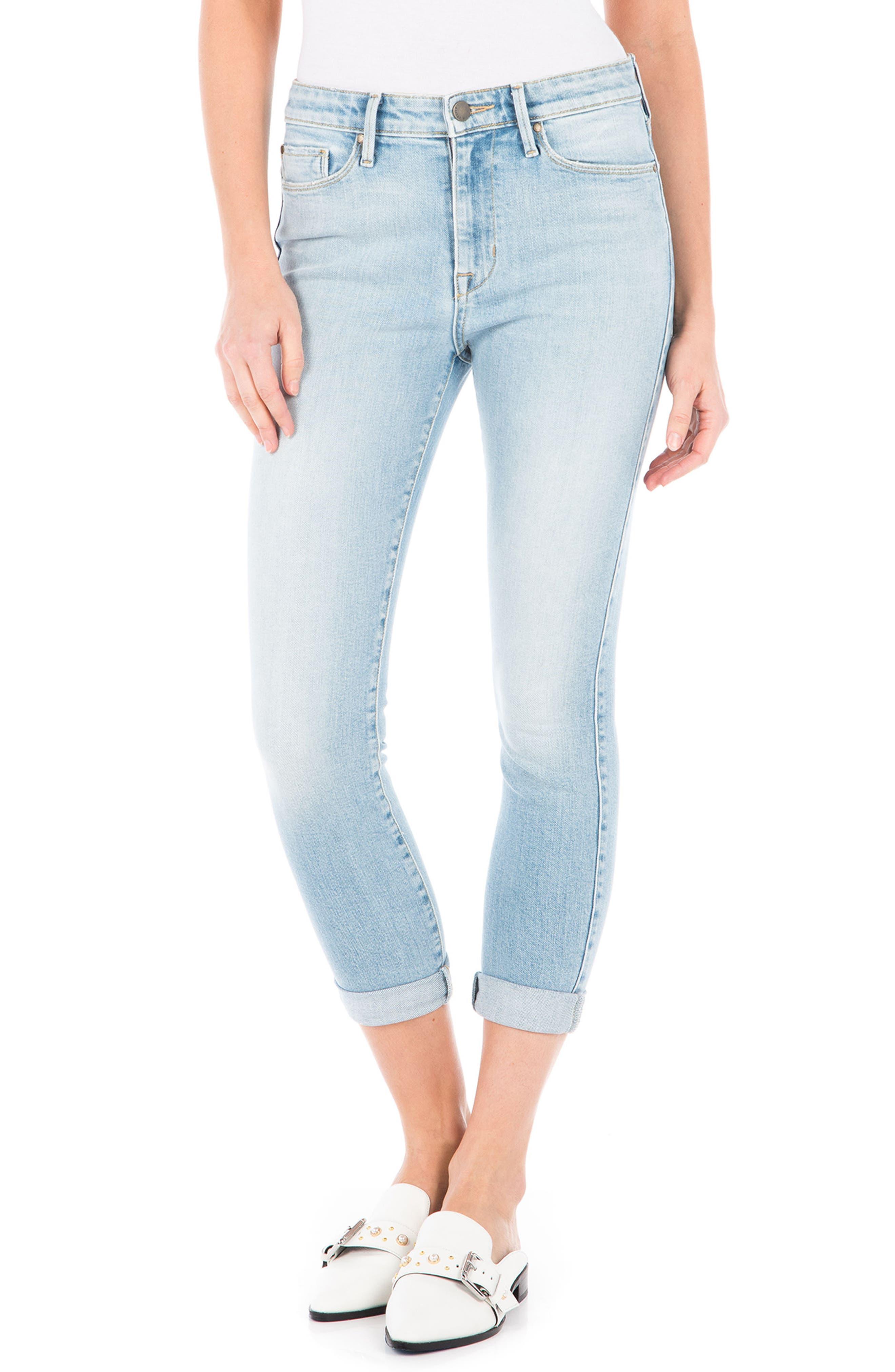 Gwen High Waist Crop Skinny Jeans,                             Main thumbnail 1, color,                             Daydream Blue