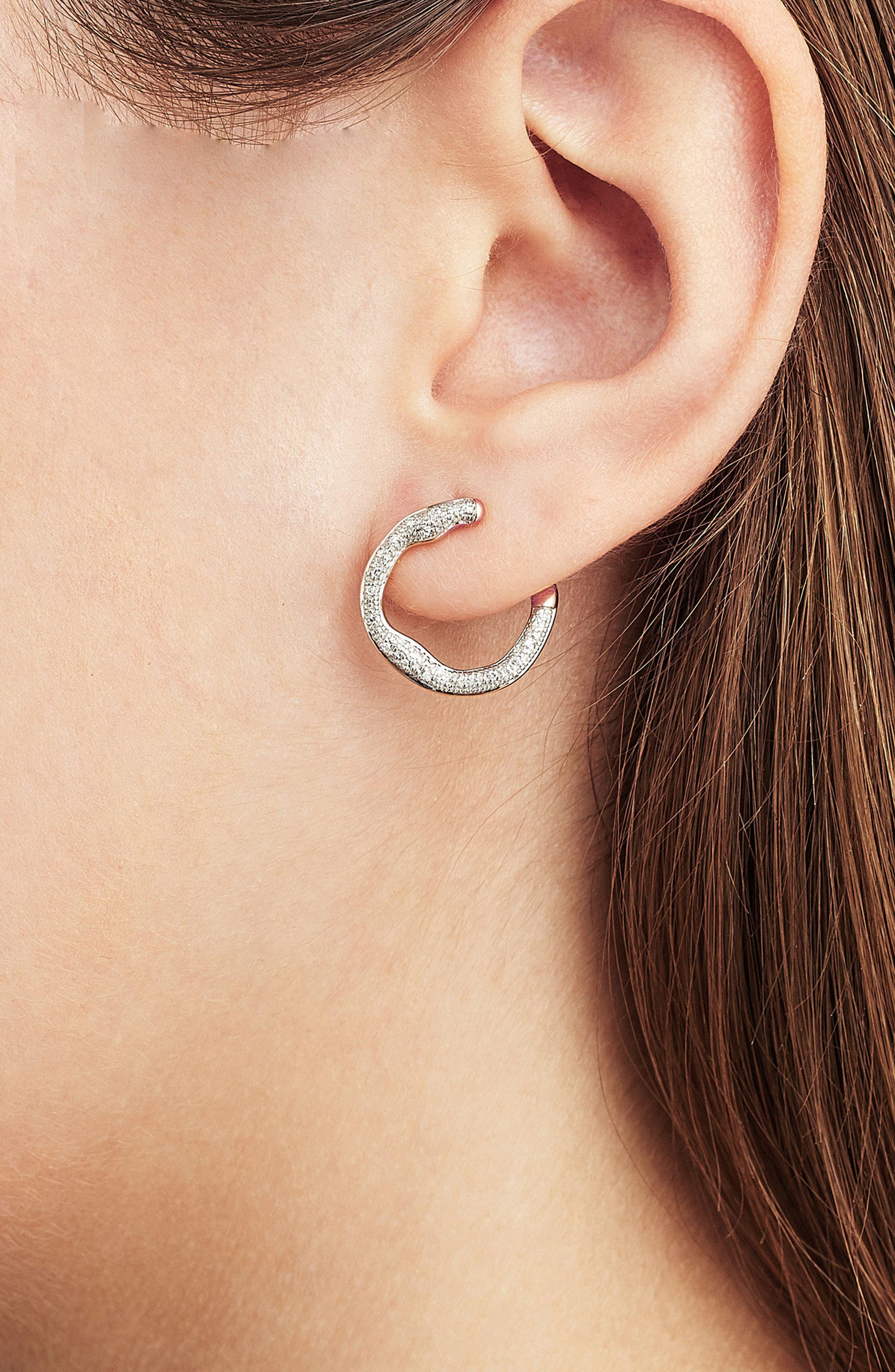 Riva Diamond Circle Wrap Earrings,                             Alternate thumbnail 2, color,                             Rose Gold