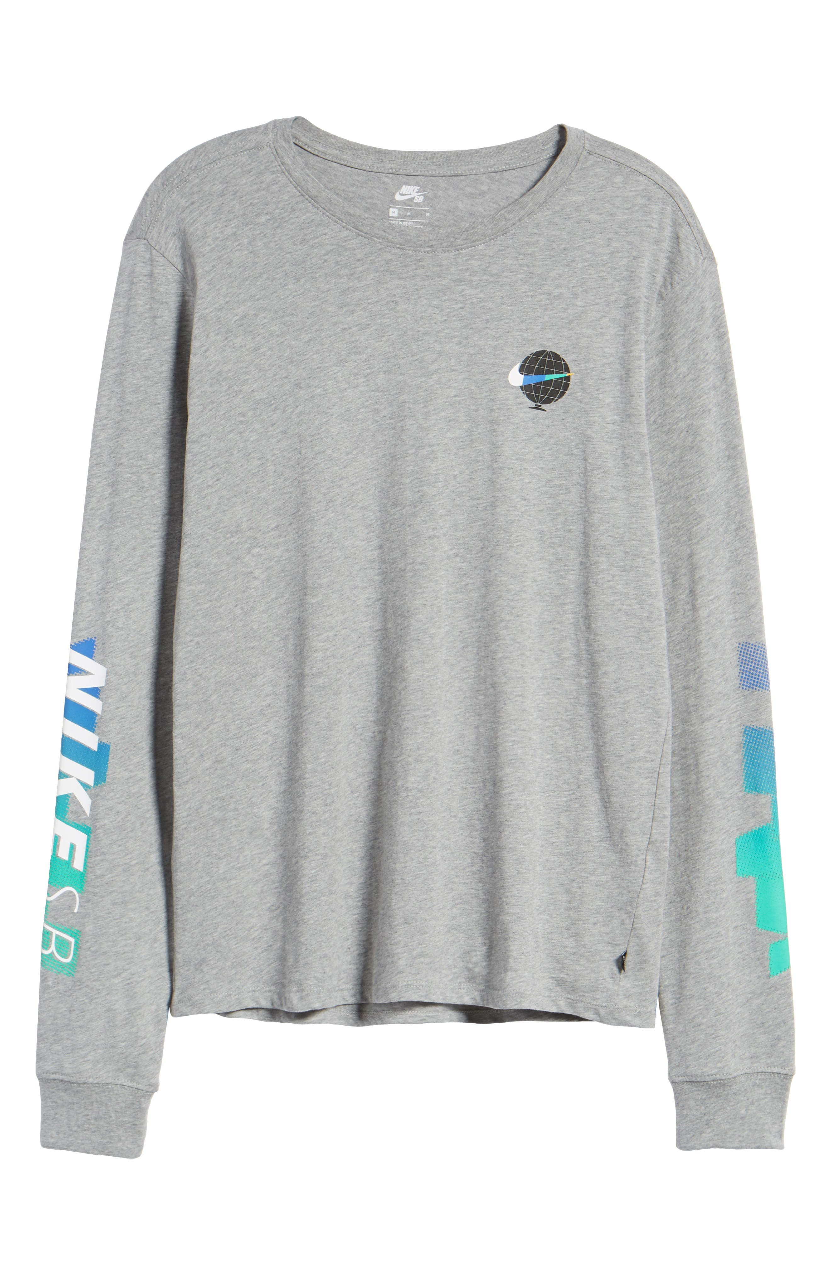 SB Globe Graphic Long Sleeve T-Shirt,                             Alternate thumbnail 5, color,                             Dark Grey Heather