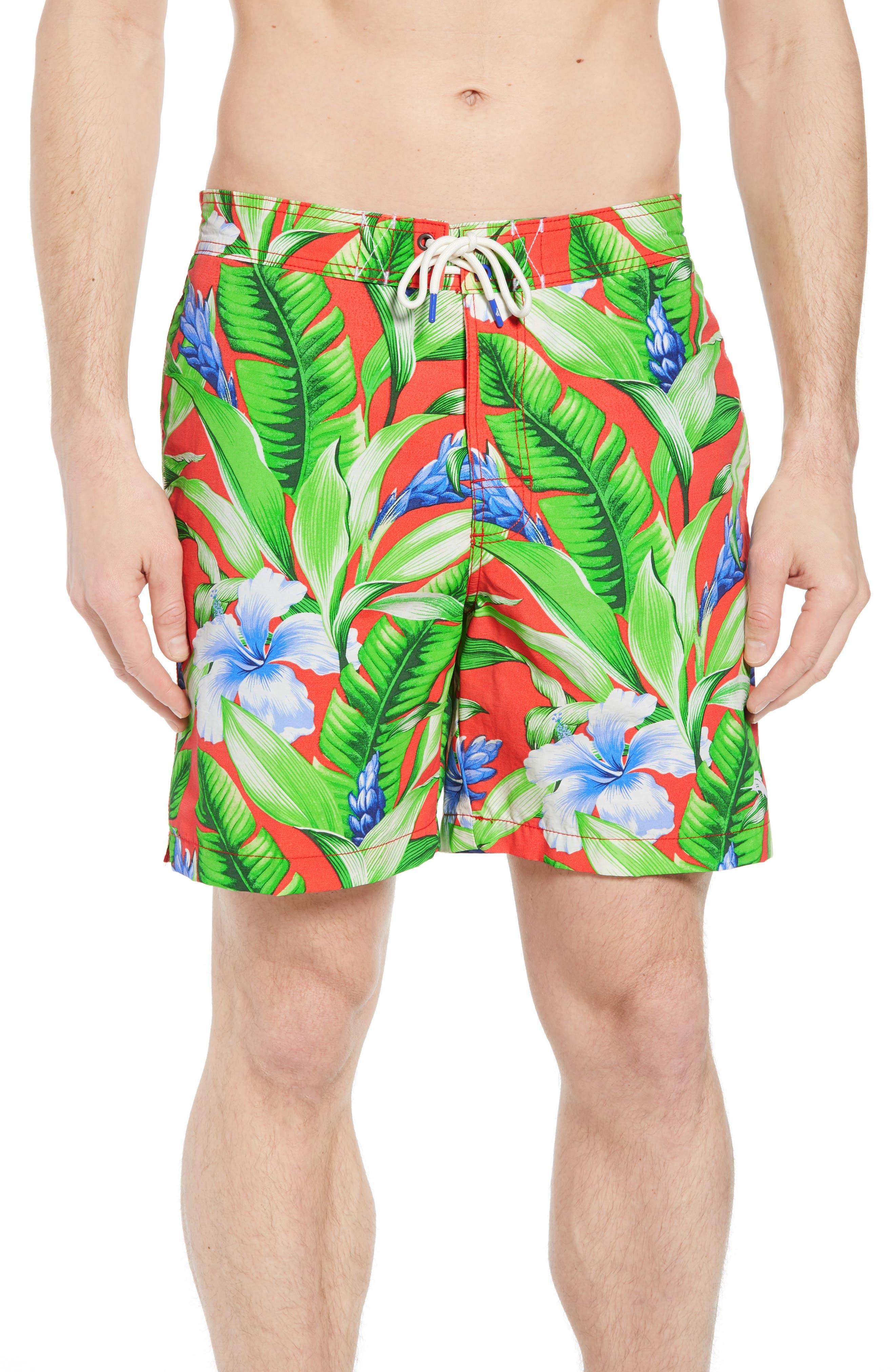 Baja Tulum Bloom Board Shorts,                         Main,                         color, Fire Orange