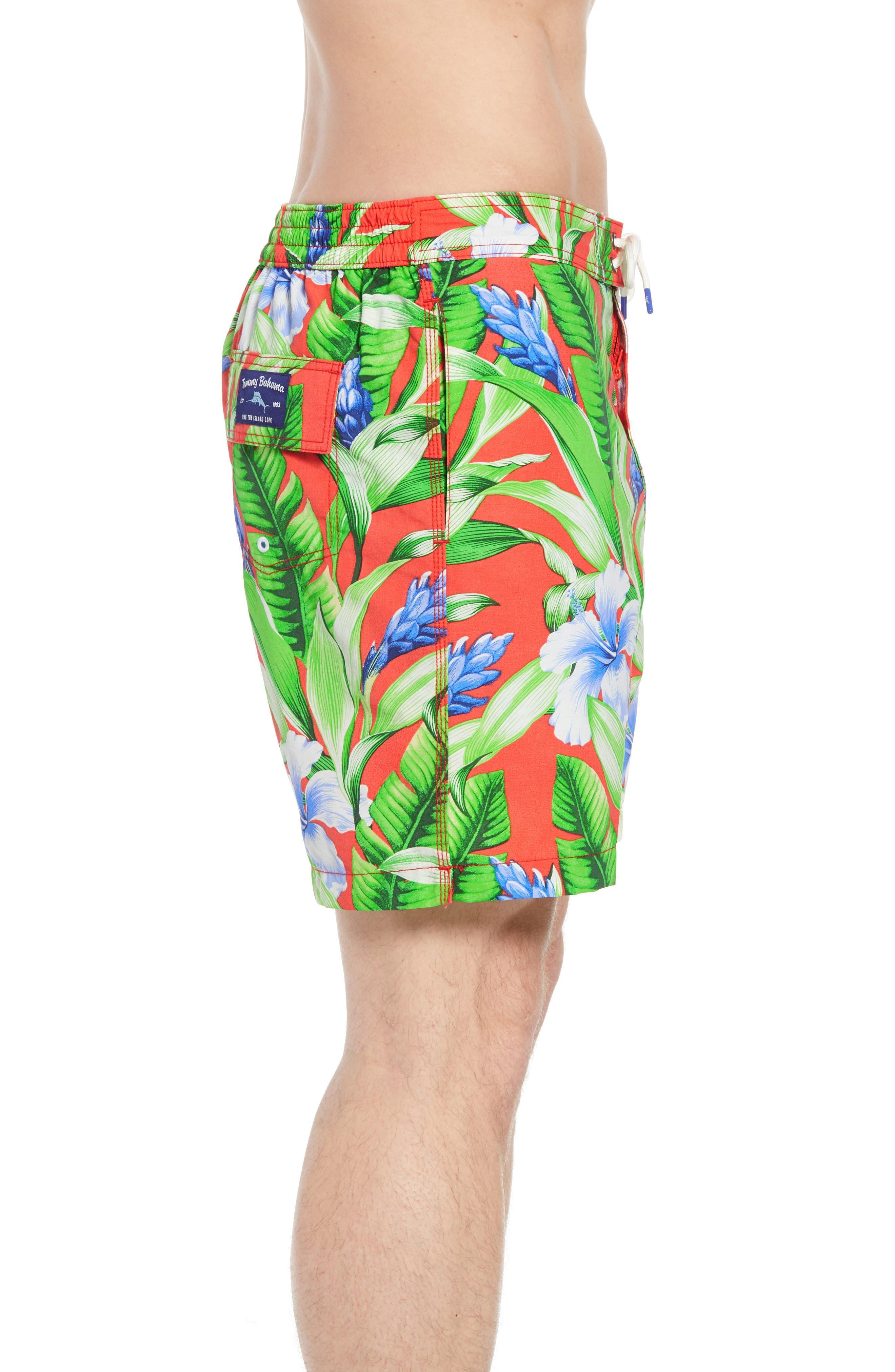 Baja Tulum Bloom Board Shorts,                             Alternate thumbnail 3, color,                             Fire Orange