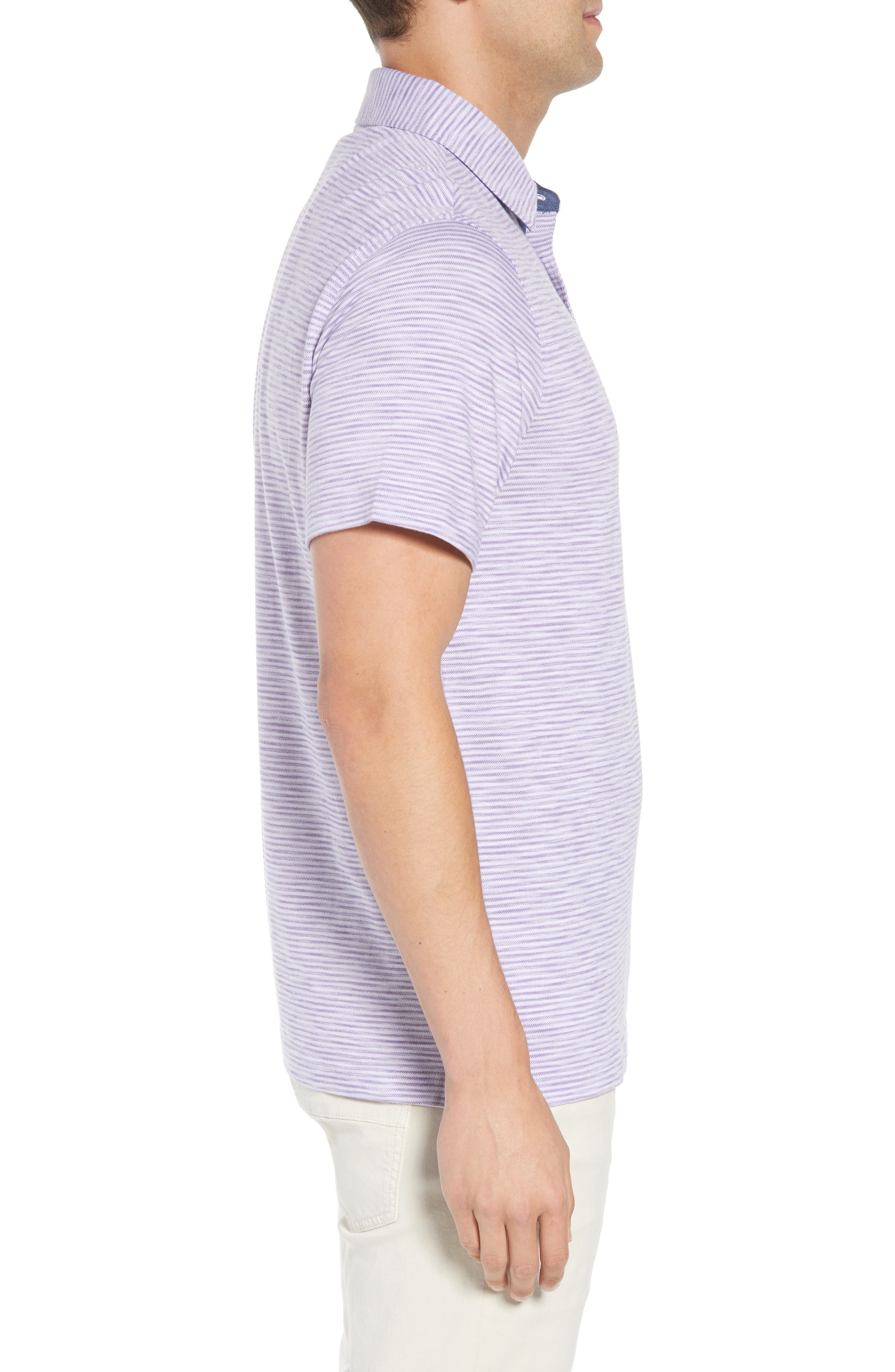 Marled Stripe Polo,                             Alternate thumbnail 3, color,                             Orchid