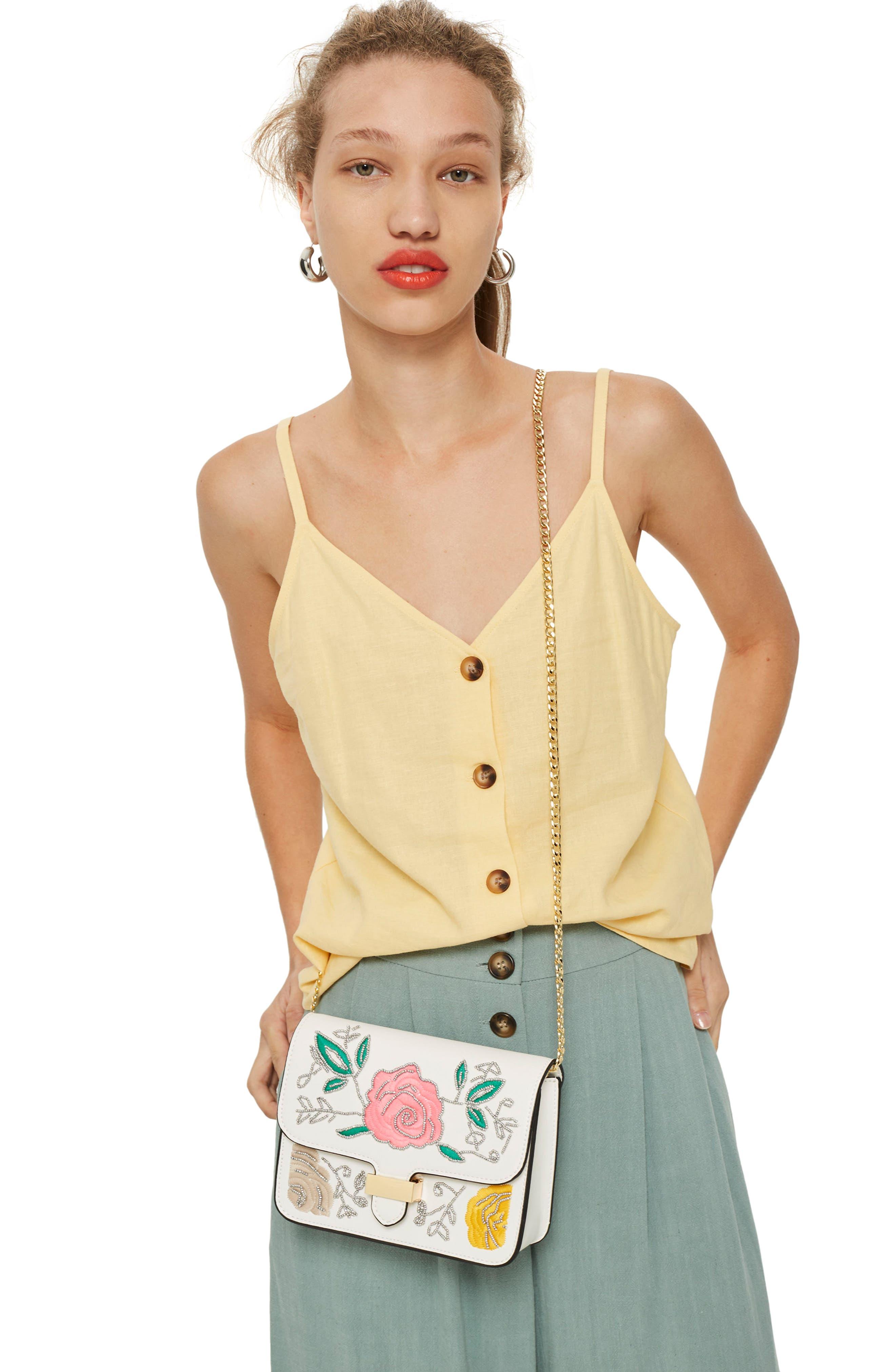 Lily Flower Bead Crossbody Bag,                             Alternate thumbnail 2, color,                             White Multi