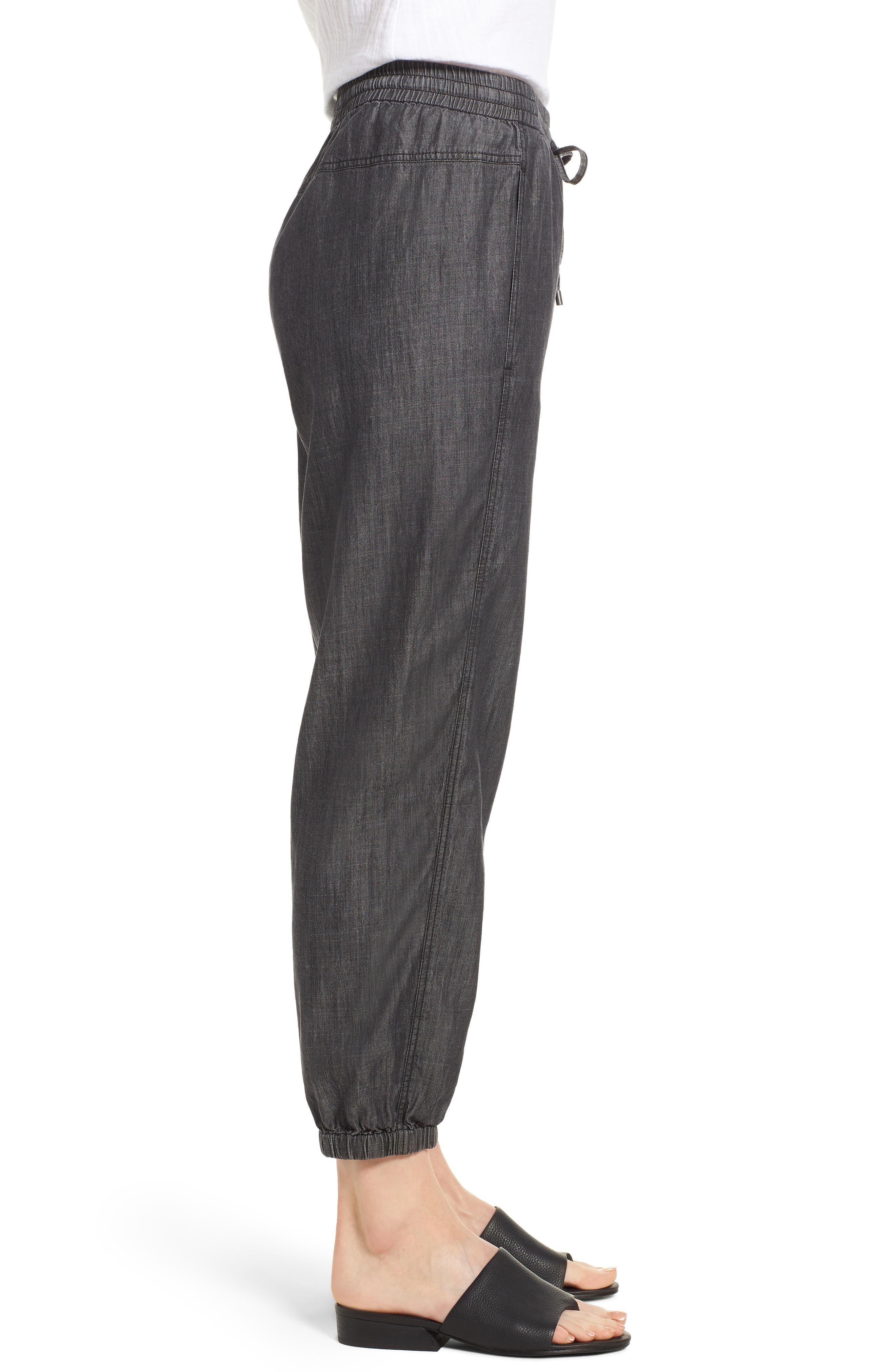 Drawstring Waist Chambray Pants,                             Alternate thumbnail 3, color,                             Black