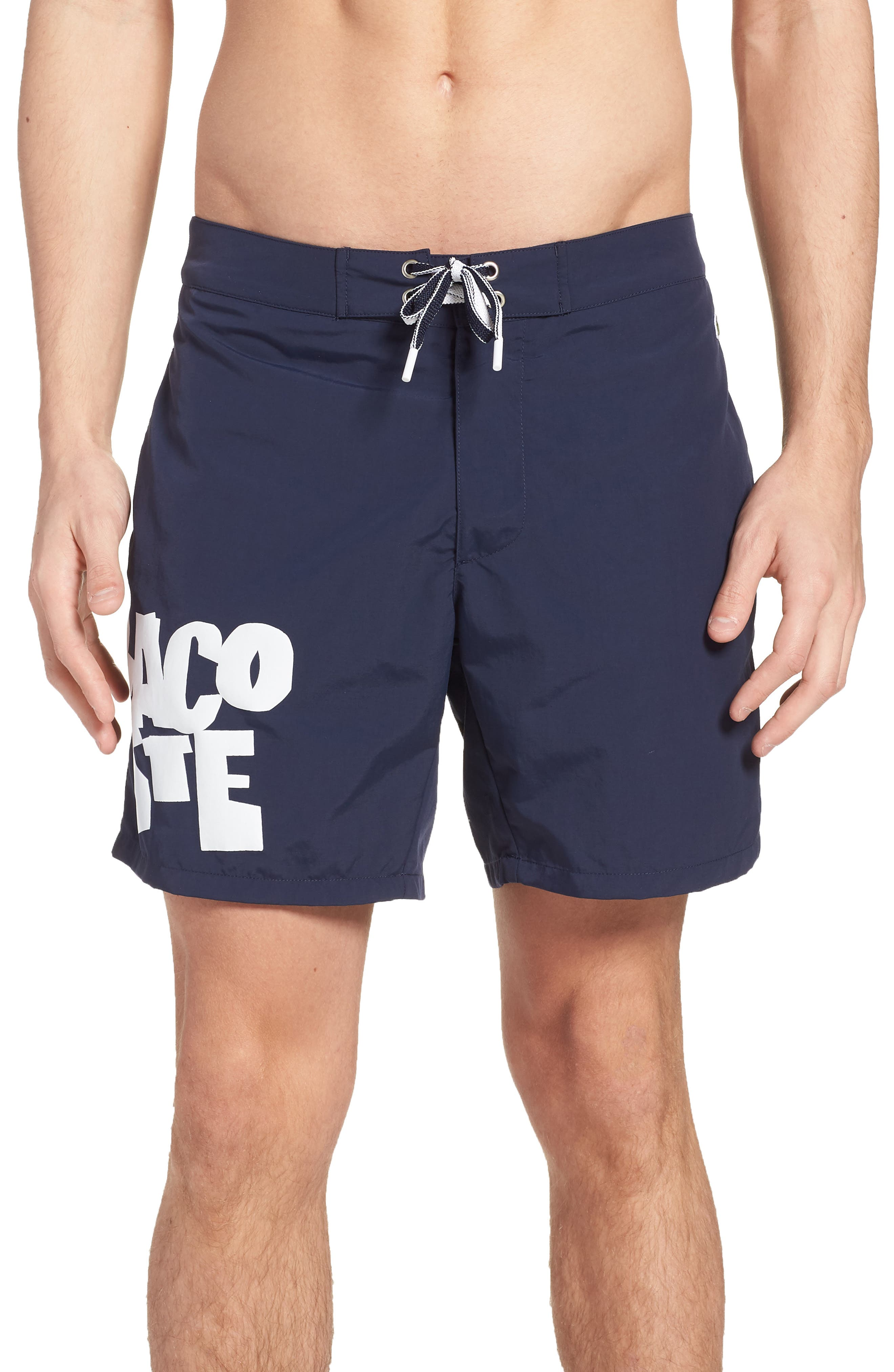 Graphic Swim Trunks,                             Main thumbnail 1, color,                             Navy Blue