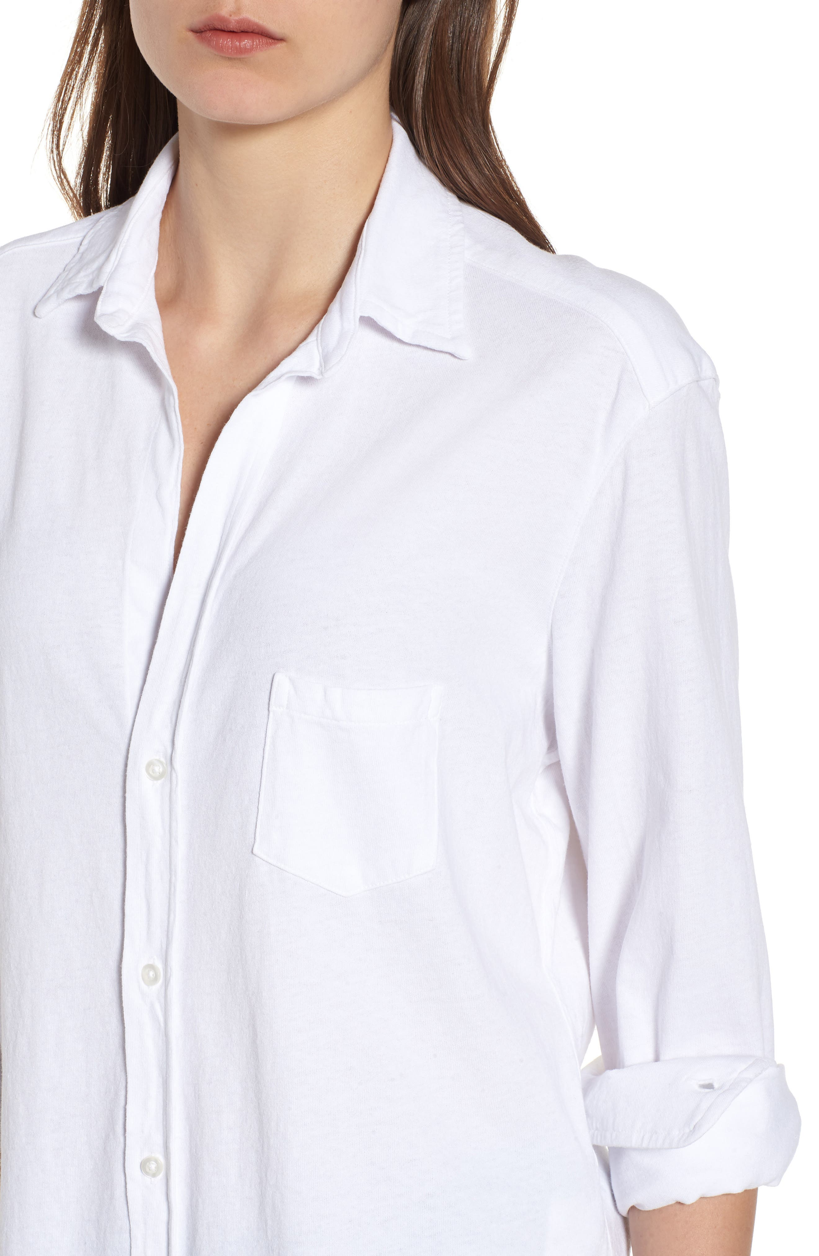 Button Front Jersey Shirt,                             Alternate thumbnail 4, color,                             Whiteout