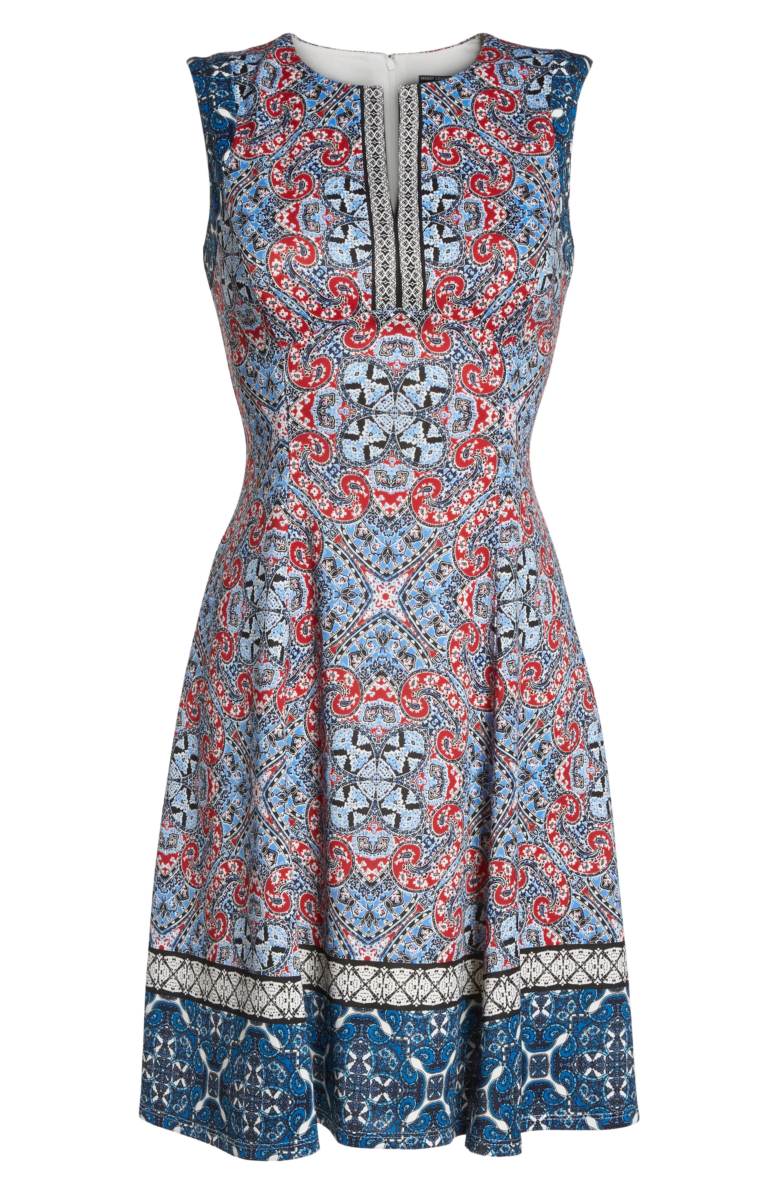 Print Scuba Fit & Flare Dress,                             Alternate thumbnail 7, color,                             Soft White/ Red