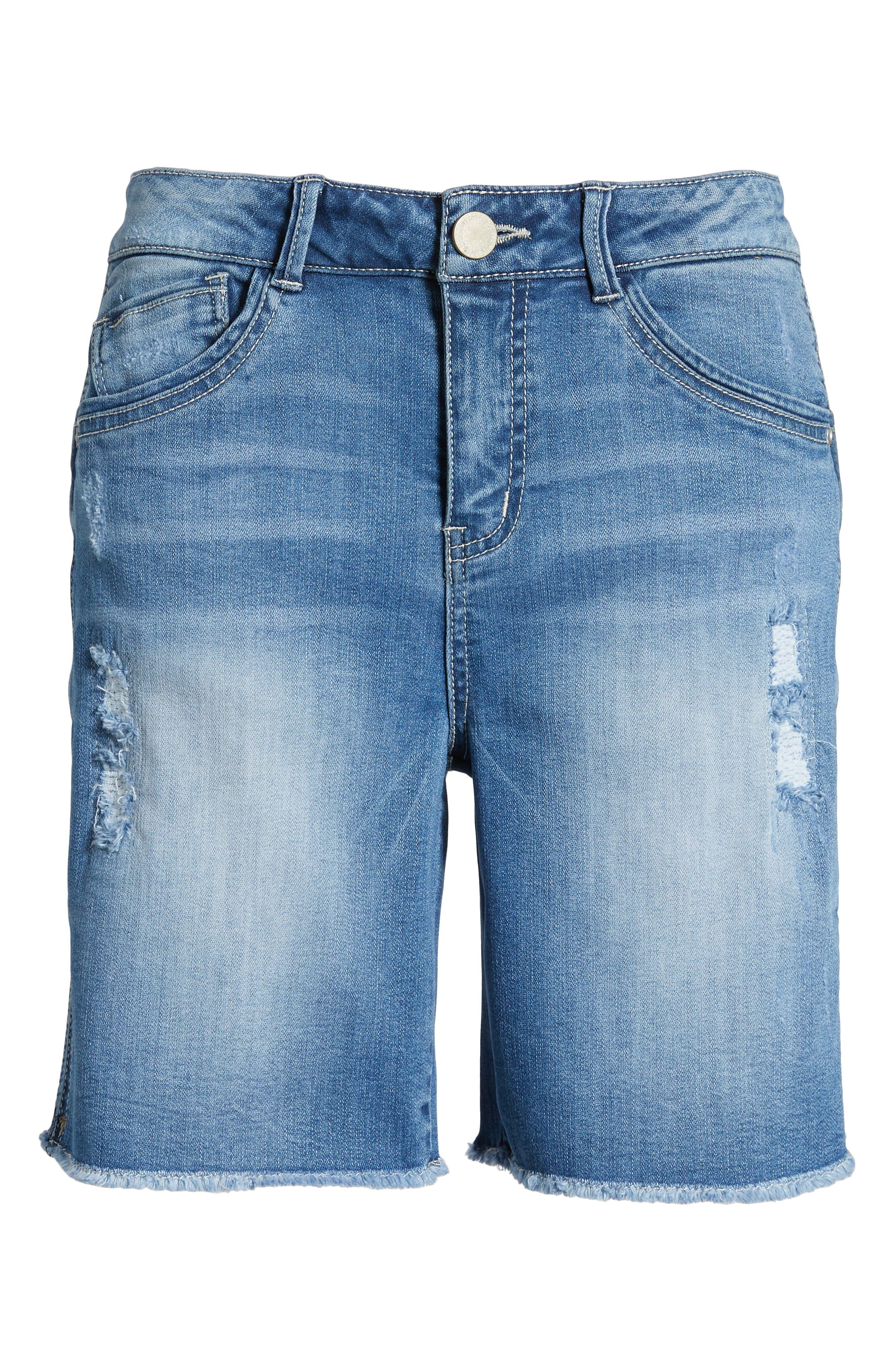 Flex-Ellent High Rise Denim Shorts,                             Alternate thumbnail 6, color,                             Light Blue