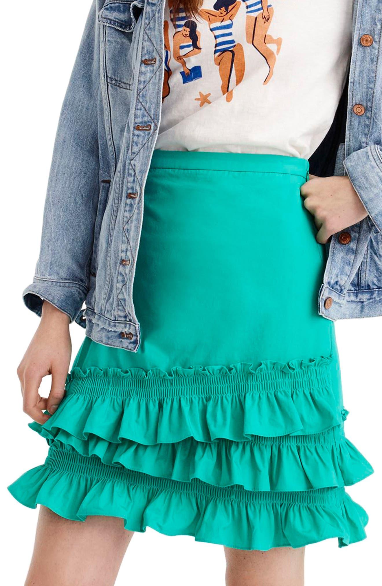 J.Crew Baby Armada Cotton Poplin Ruffle Mini Skirt (Regular & Petite)
