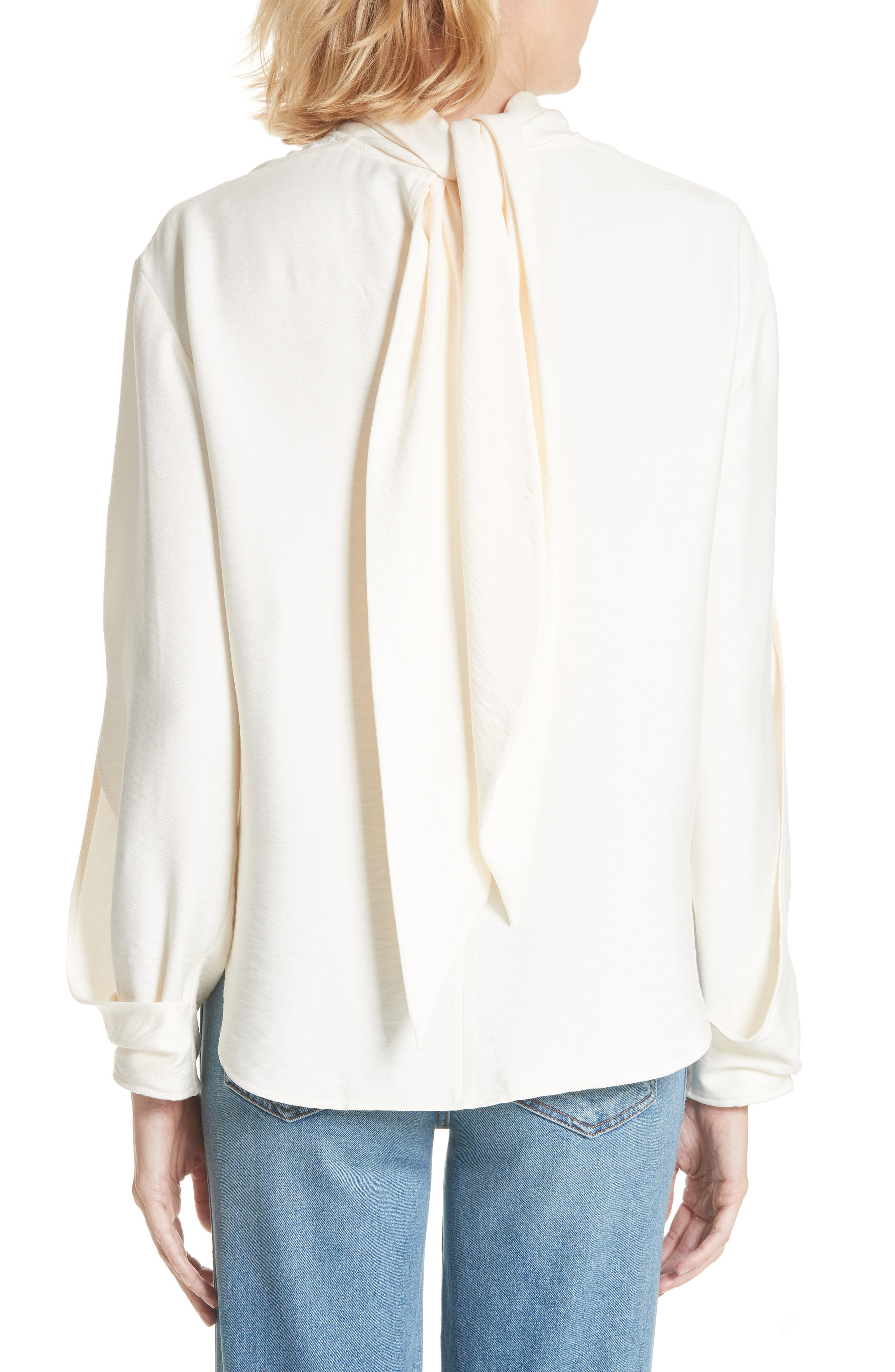 Jessie High Neck Blouse,                             Alternate thumbnail 2, color,                             Rayon Ivory