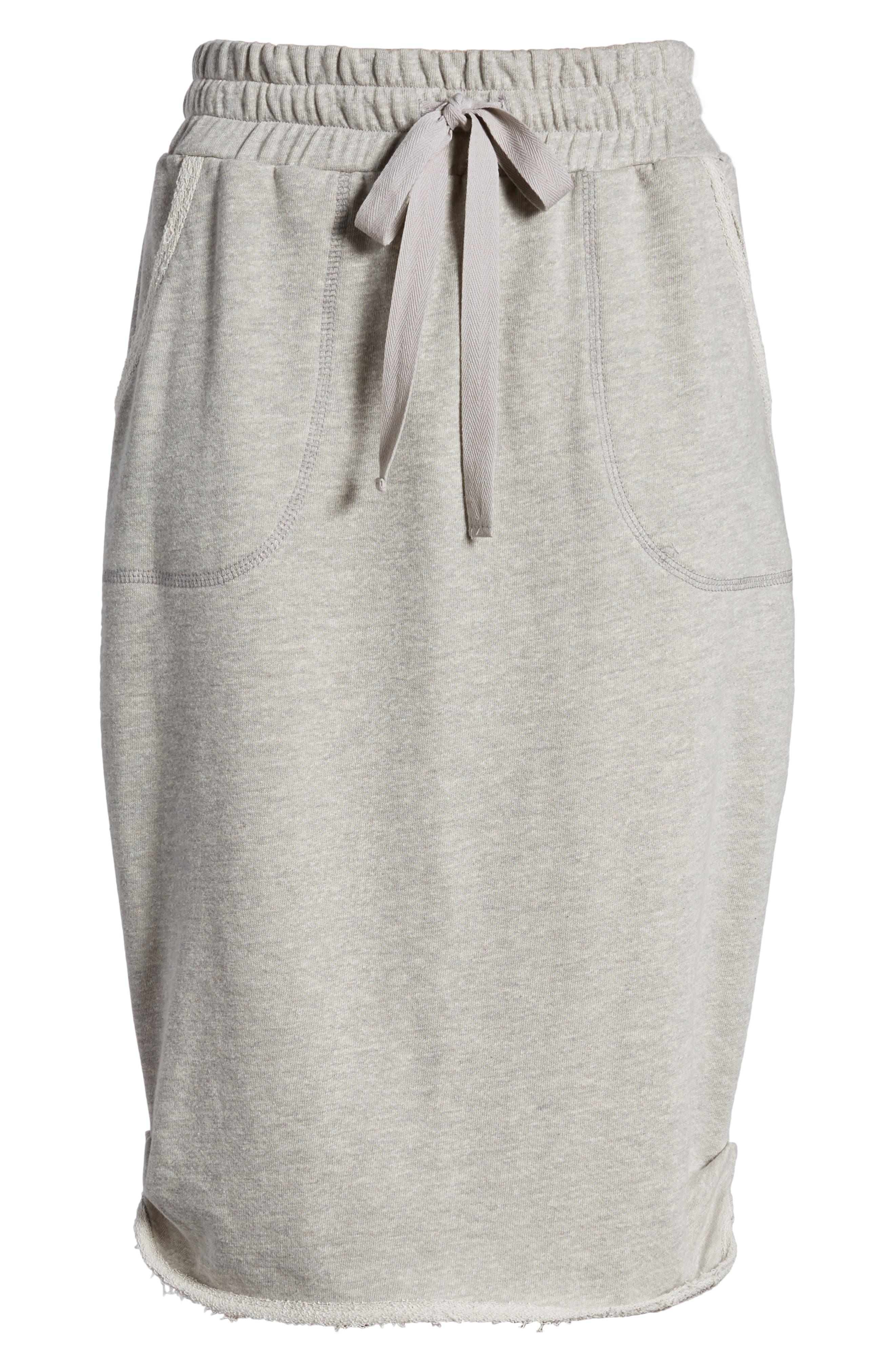 Off-Duty Cotton Knit Drawstring Skirt,                             Alternate thumbnail 5, color,                             Grey Heather