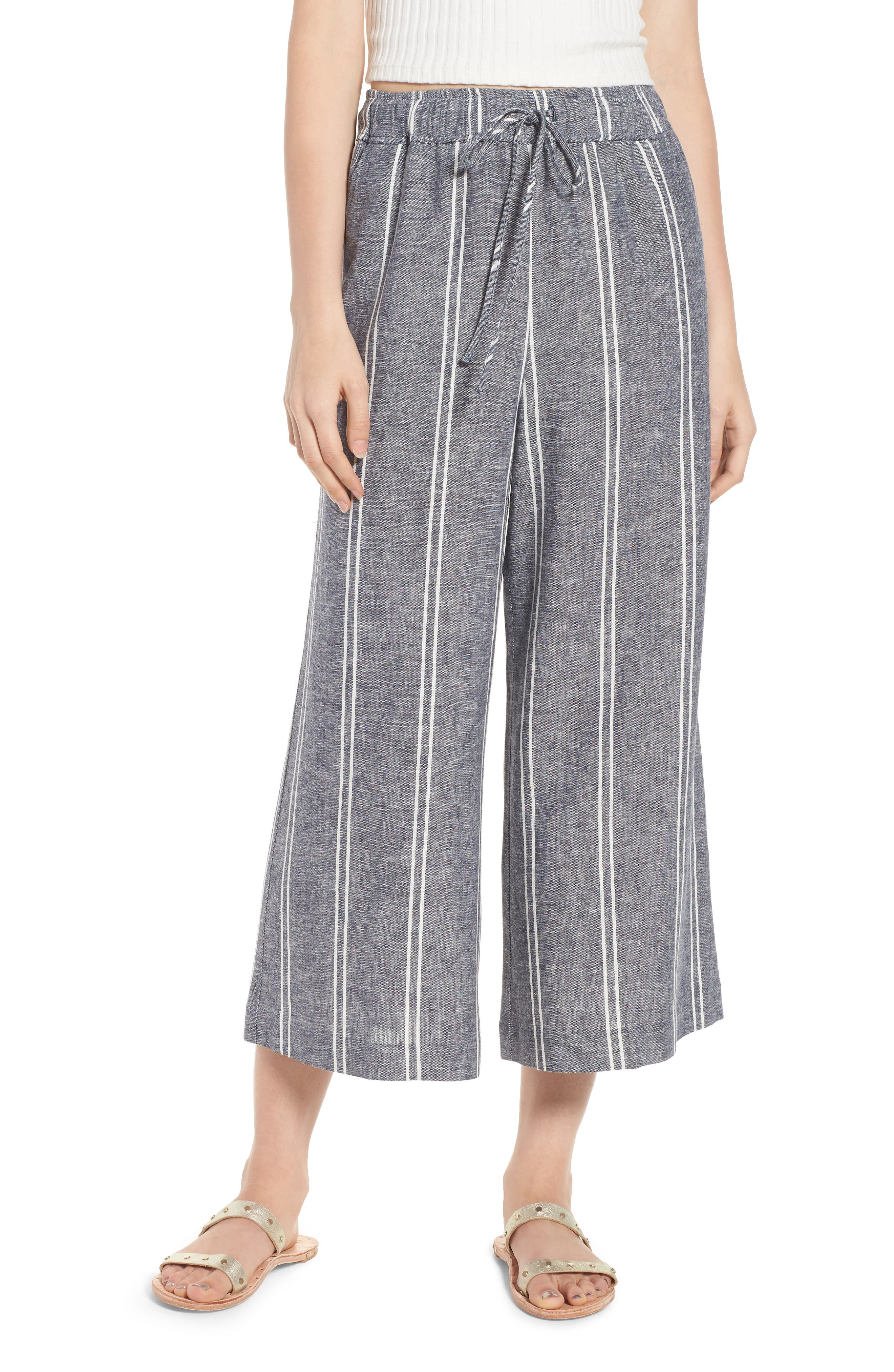 Stripe Linen Blend Culottes,                         Main,                         color, Navy Peacoat Chambray Stripe