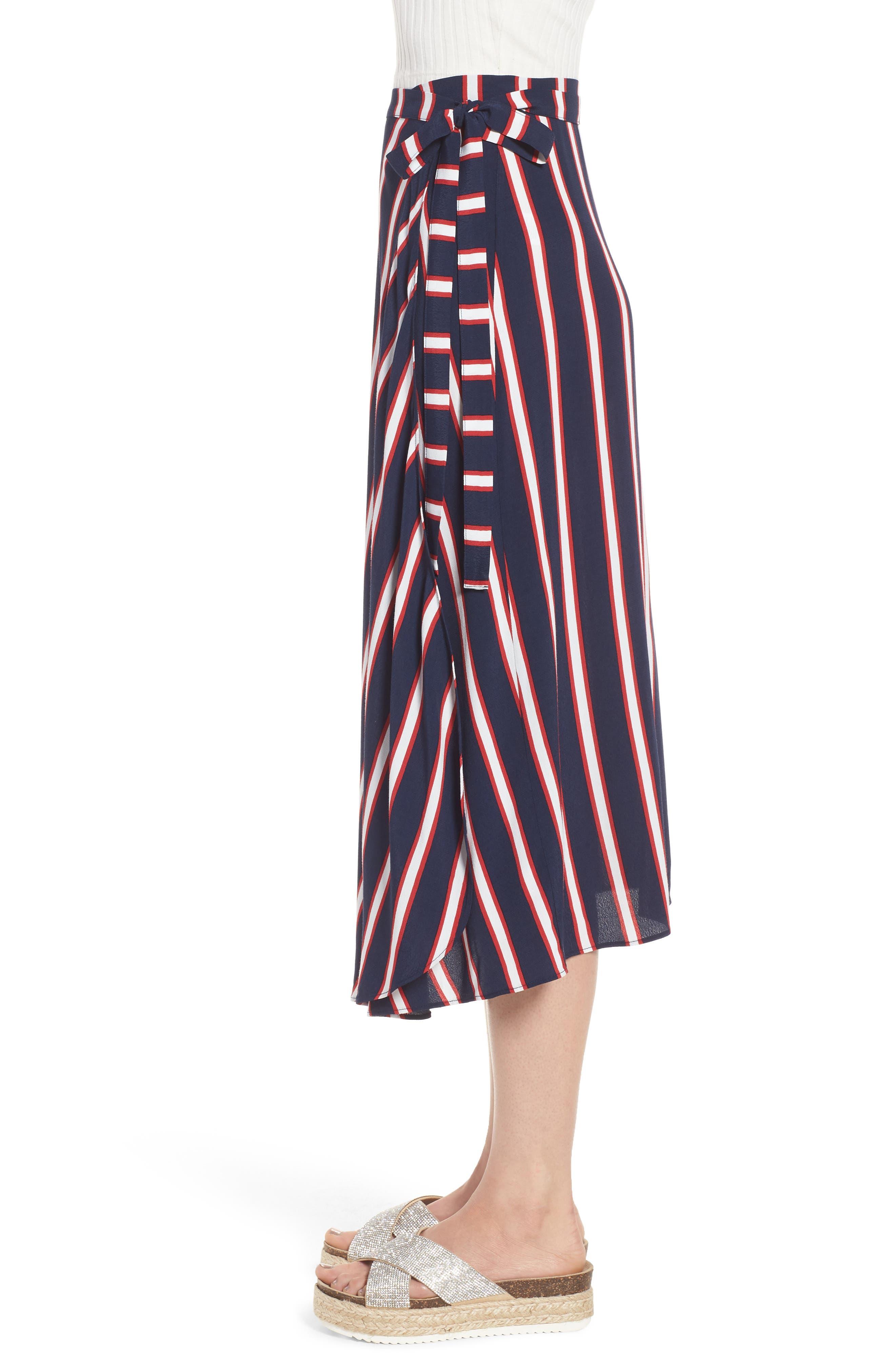 Stripe Midi Wrap Skirt,                             Alternate thumbnail 3, color,                             Navy Peacoat Awning Stripe