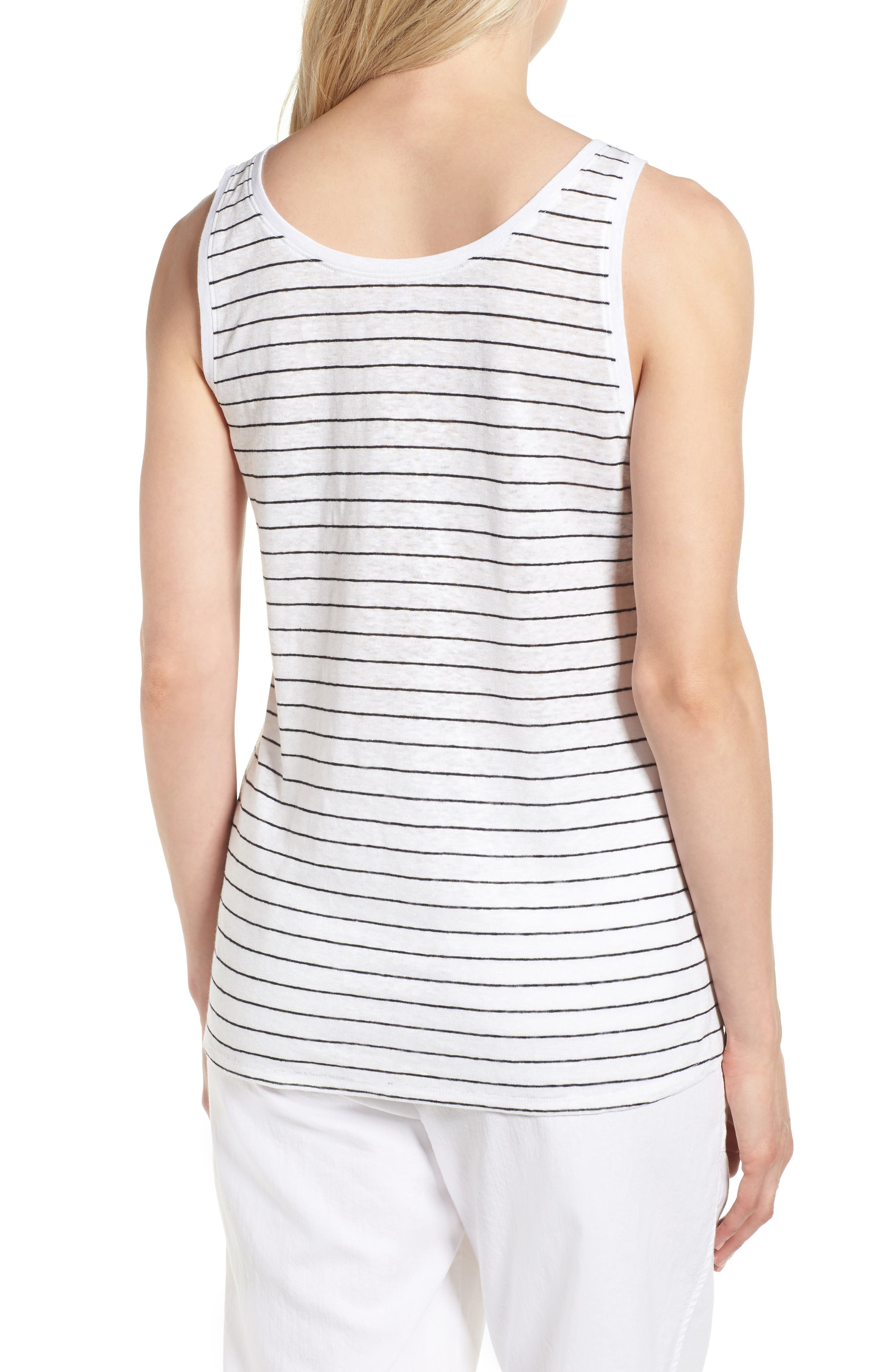 Stripe Linen Tank,                             Alternate thumbnail 2, color,                             White/ Black