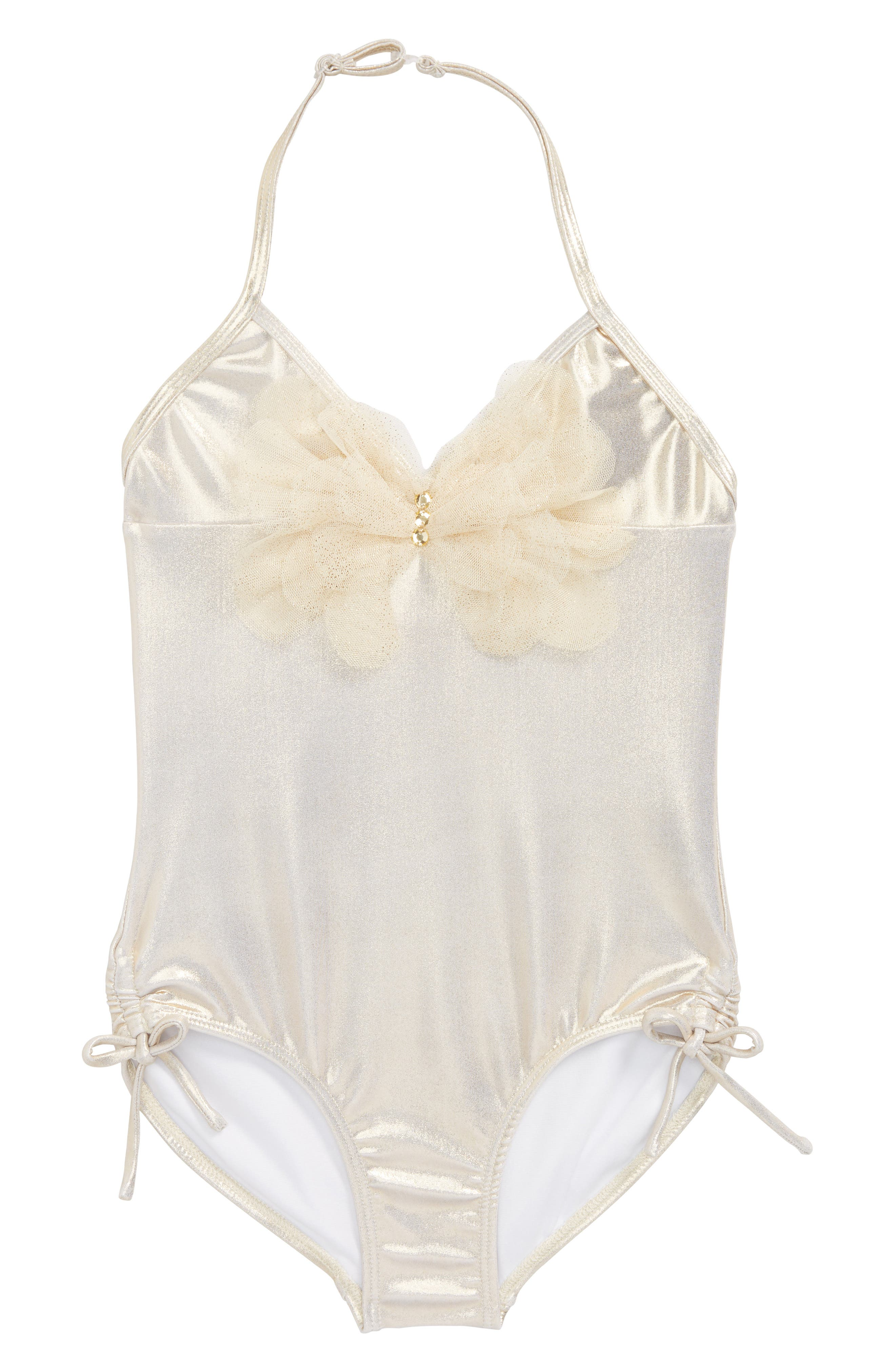 One-Piece Halter Swimsuit,                         Main,                         color, Gold