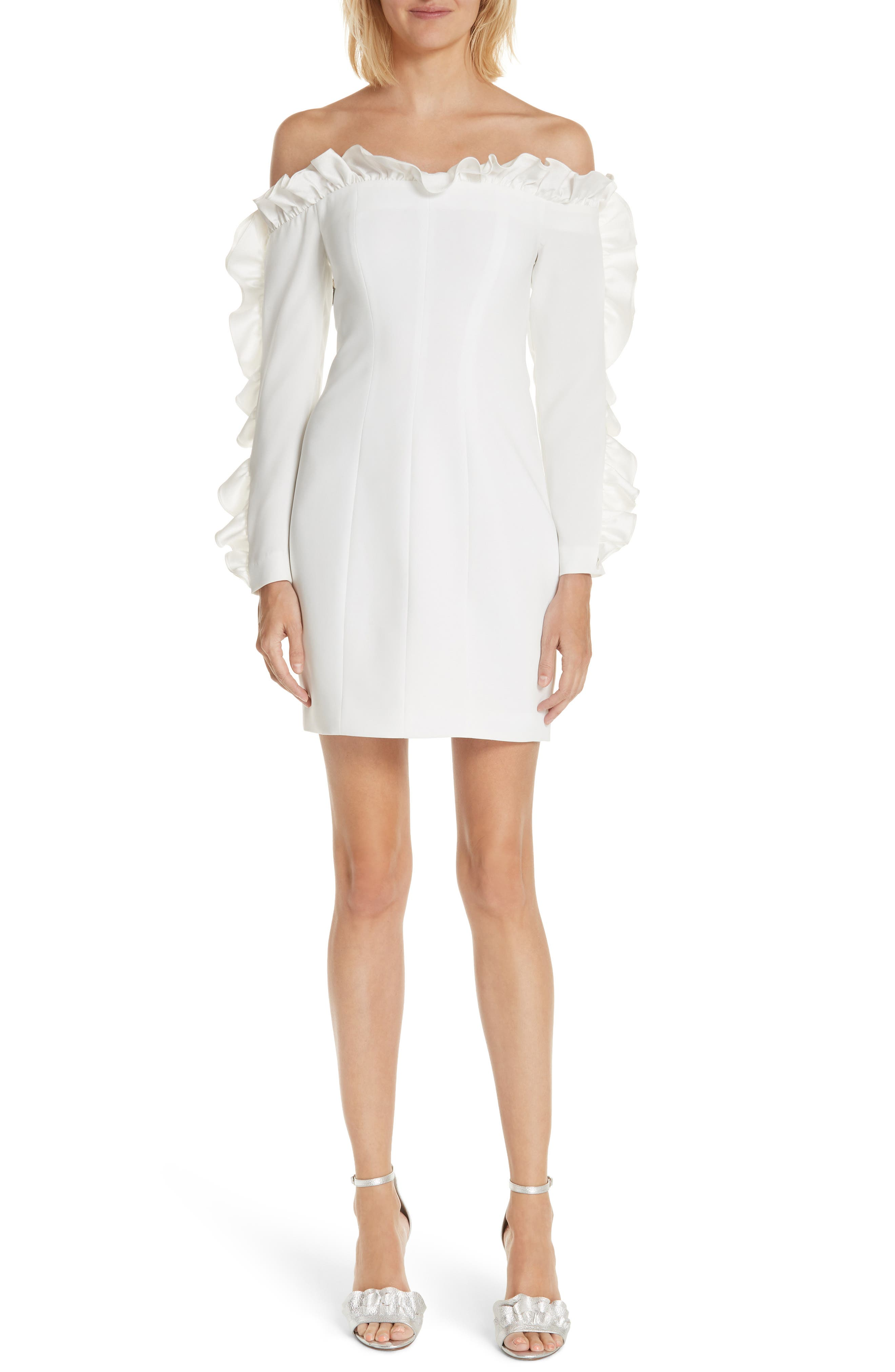 Rosemarie Ruffle Off the Shoulder Dress,                         Main,                         color, Ivory/ Ivory