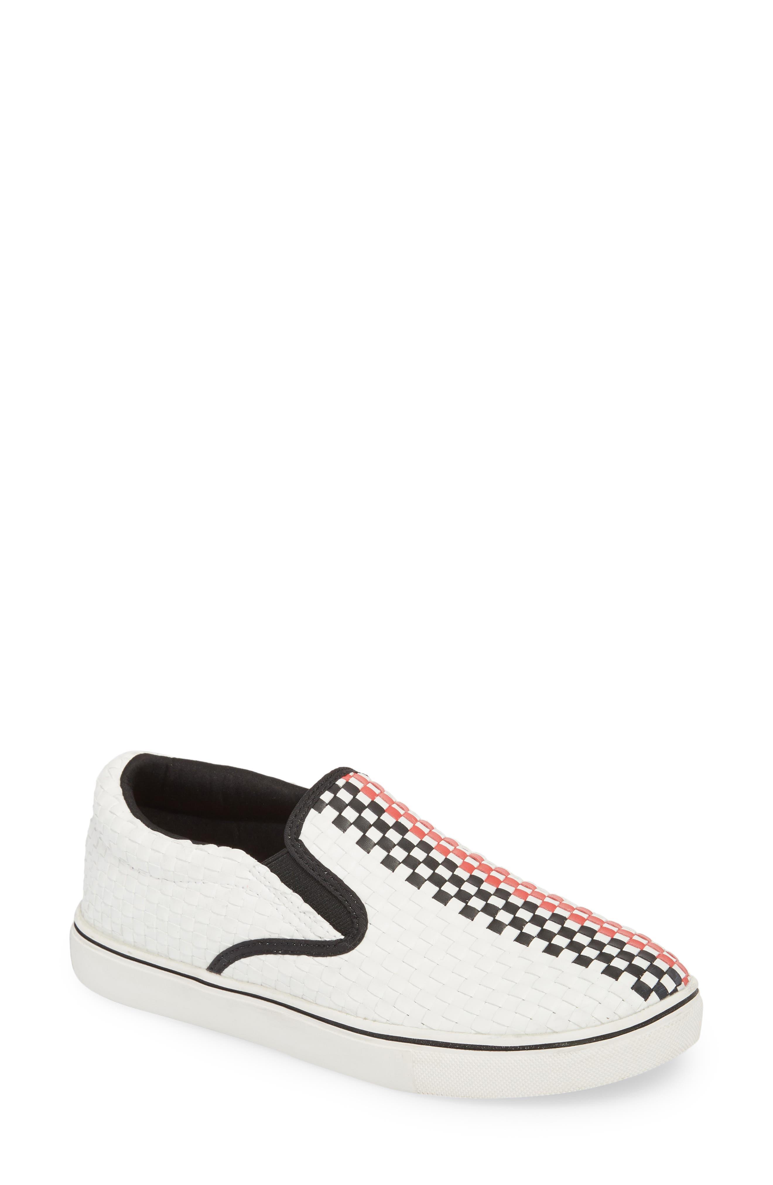 Checkerboard Slip-On Sneaker,                         Main,                         color, White/ Red/ Black