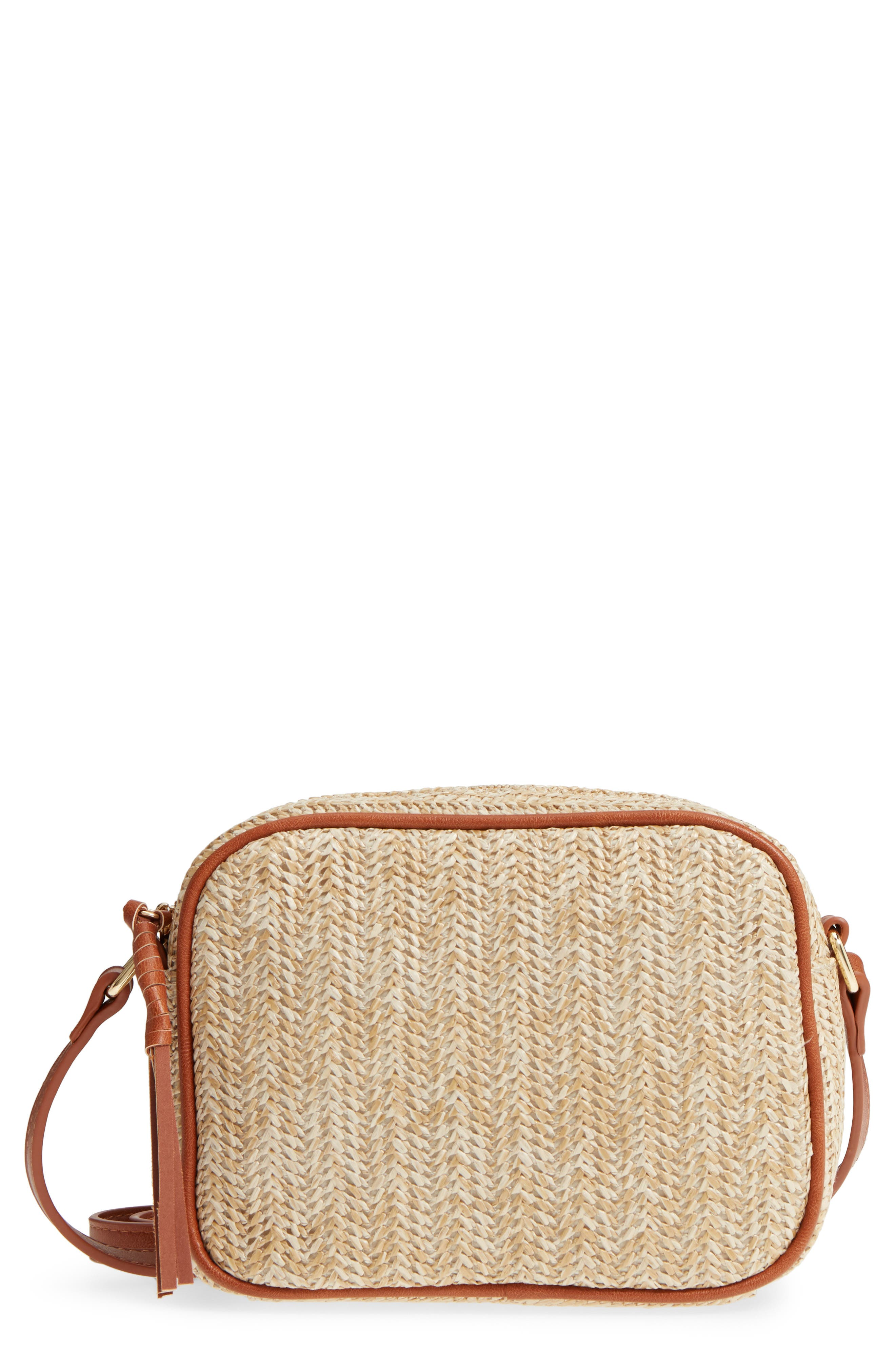 Pipper Faux Leather Camera Bag,                         Main,                         color, Natural