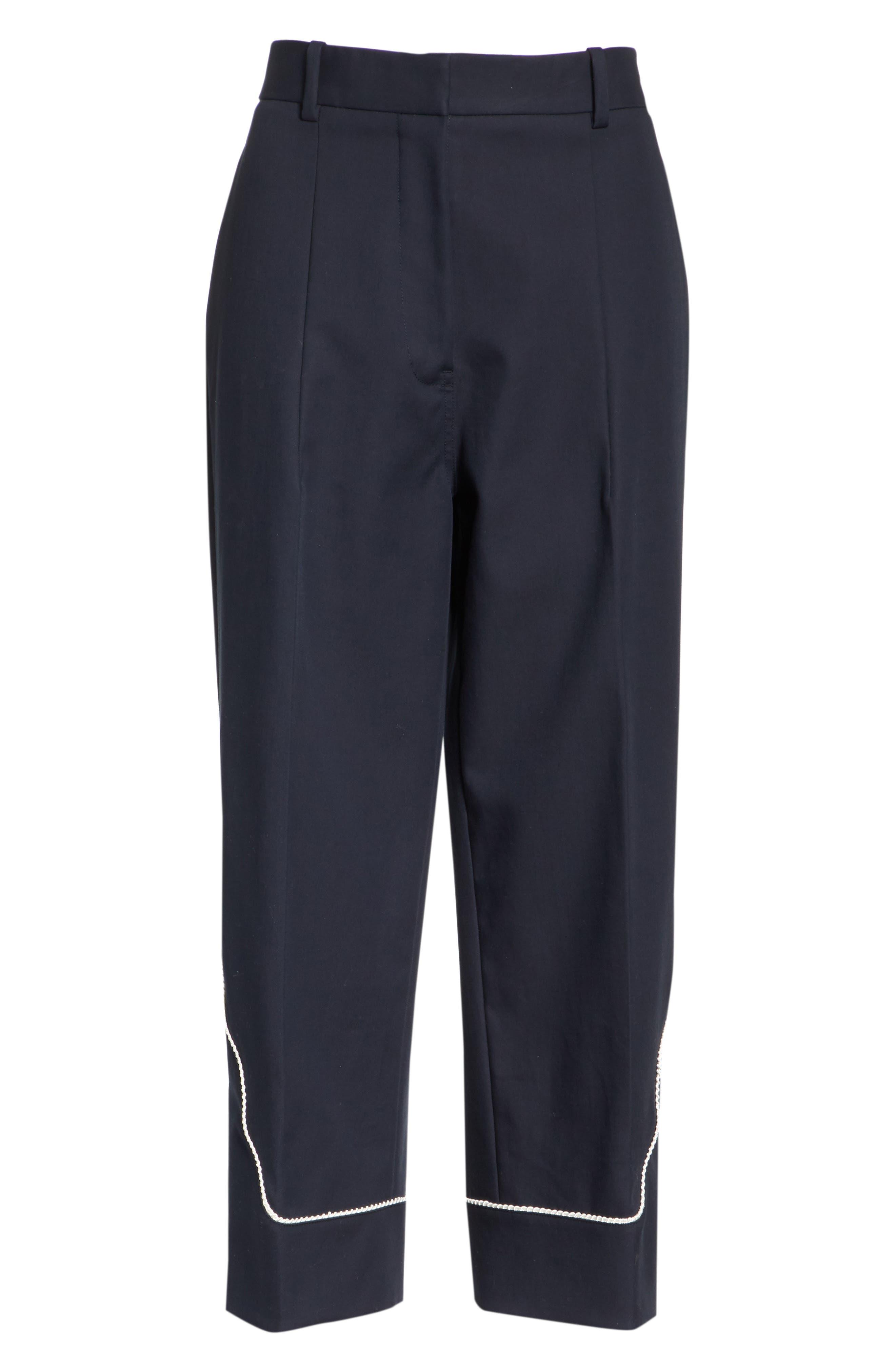 Snap Hem Wide Leg Pants,                             Alternate thumbnail 5, color,                             Navy