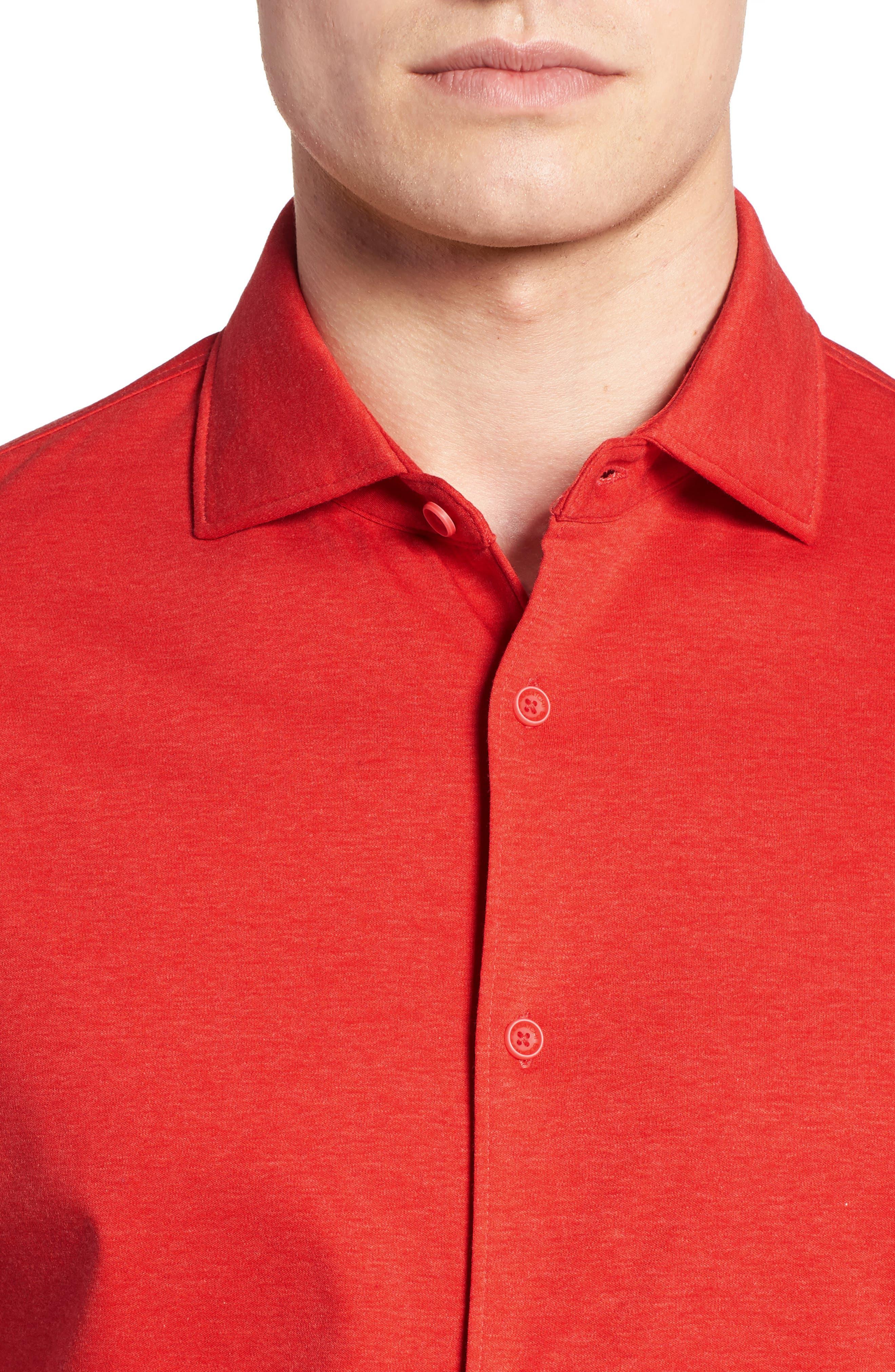 Trim Fit Heather Knit Sport Shirt,                             Alternate thumbnail 4, color,                             Cherry
