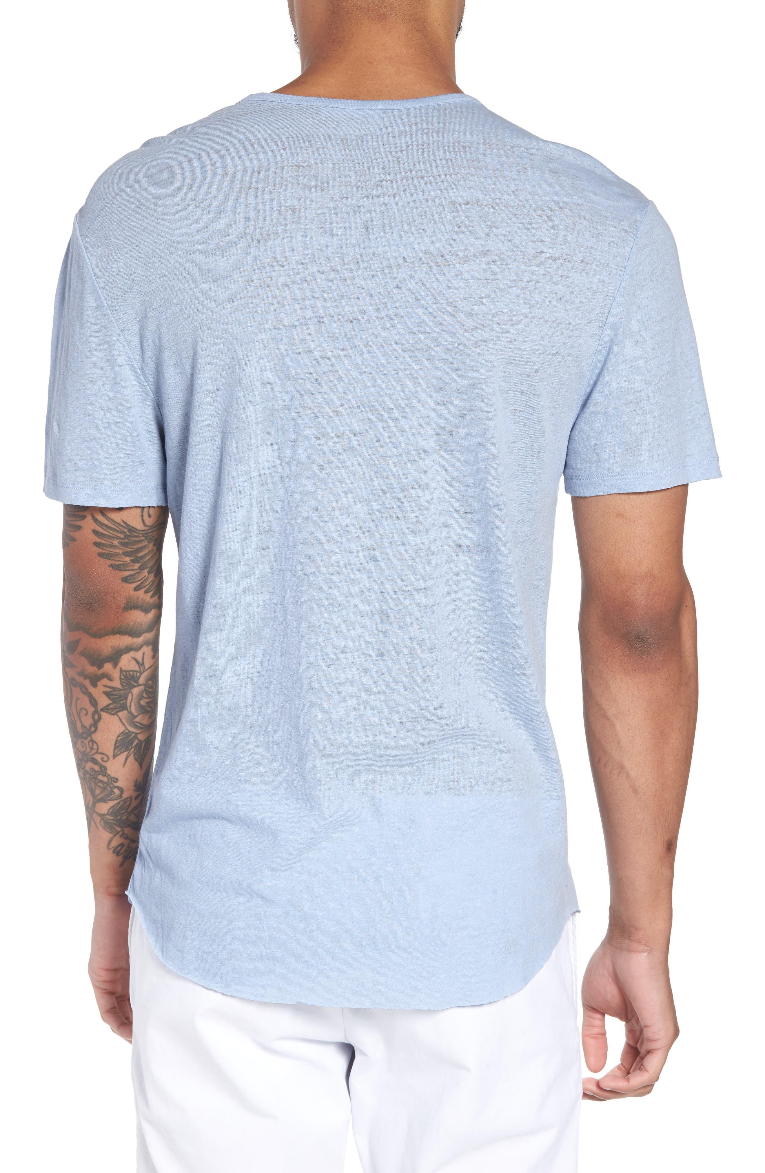 Raw Hem Linen & Cotton T-Shirt,                             Alternate thumbnail 2, color,                             Feather
