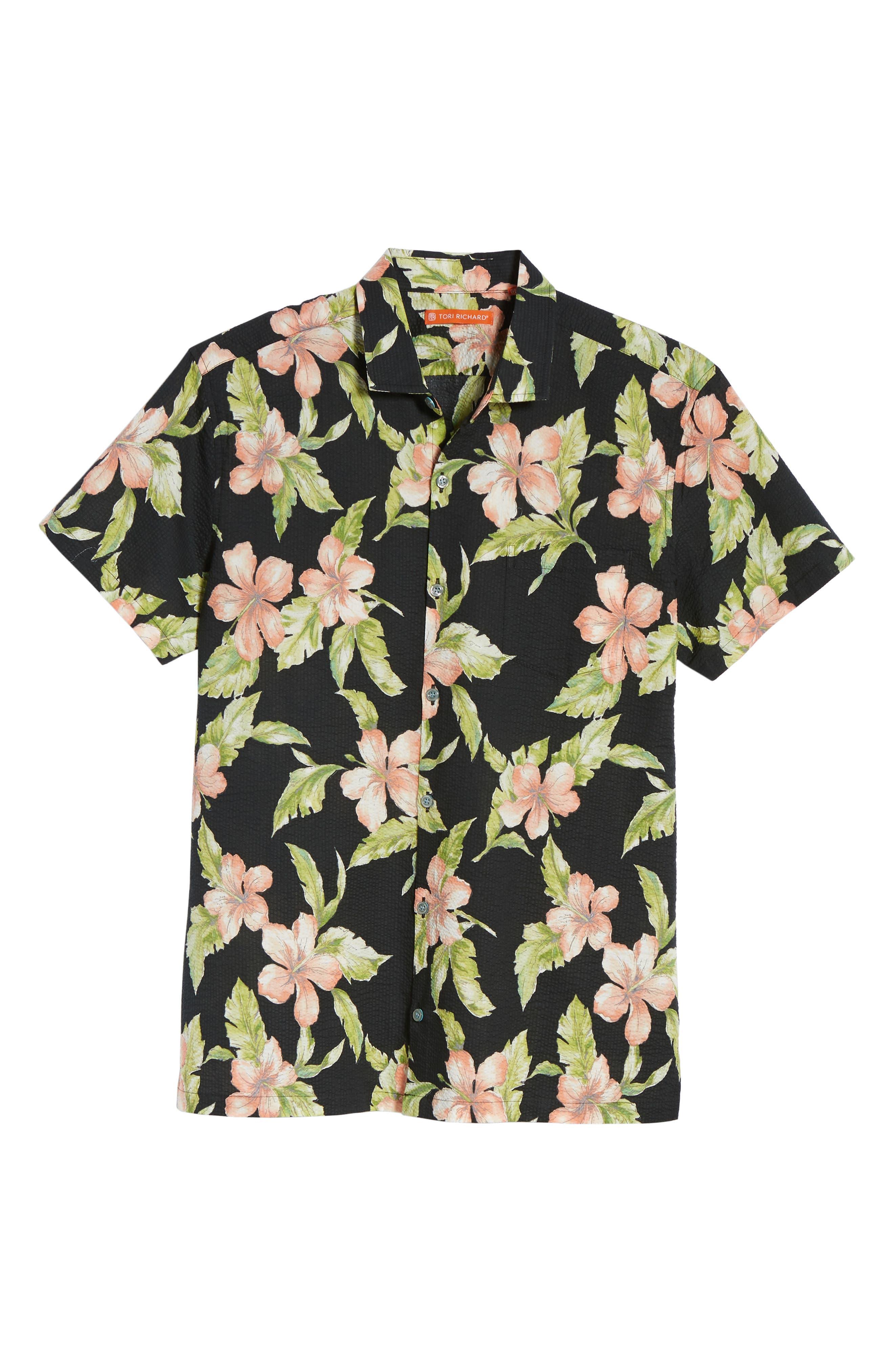 Bahia Trim Fit Camp Shirt,                             Alternate thumbnail 6, color,                             Black