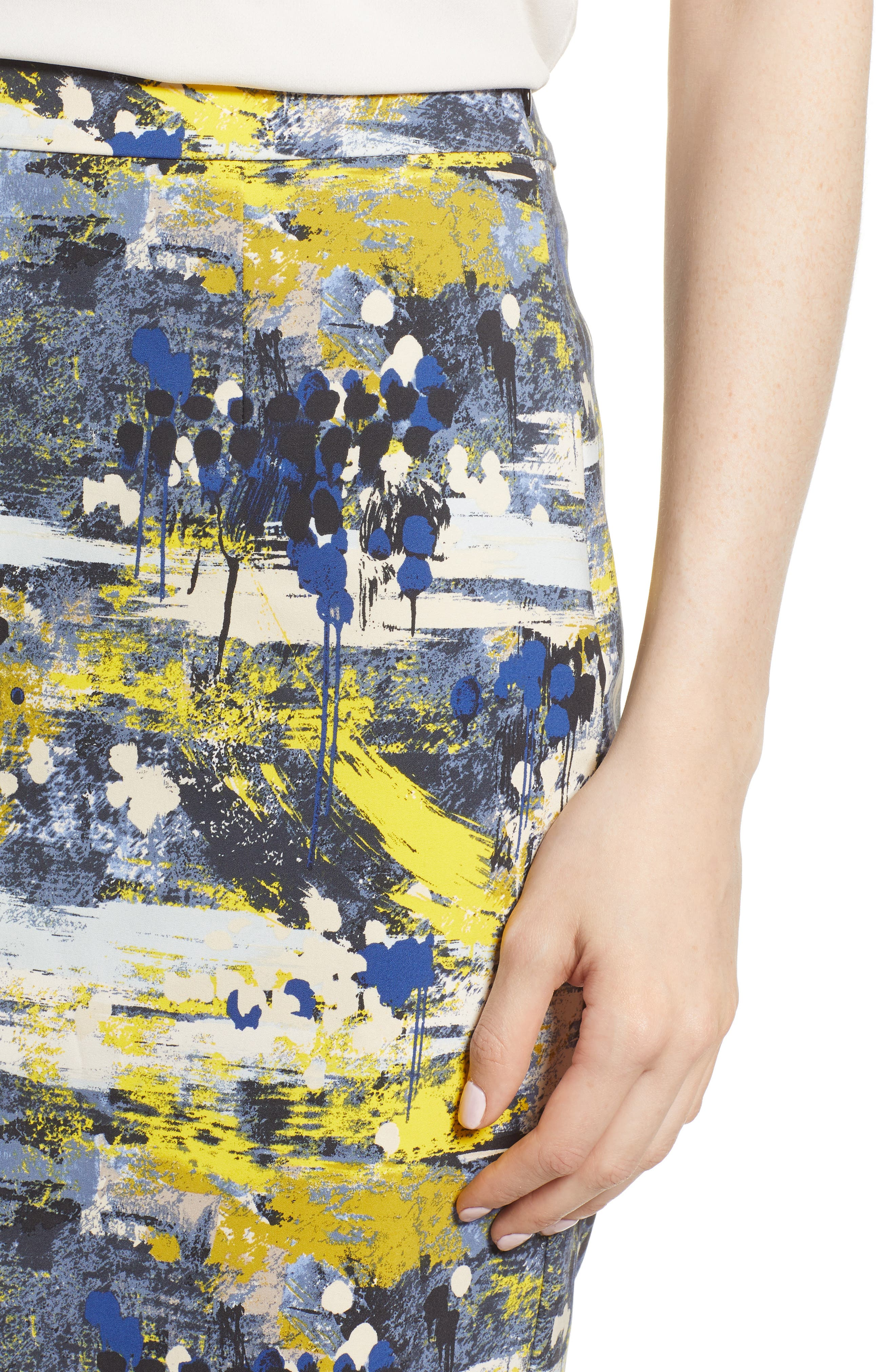 High Waist Skirt,                             Alternate thumbnail 4, color,                             Blue Dot Drip Print