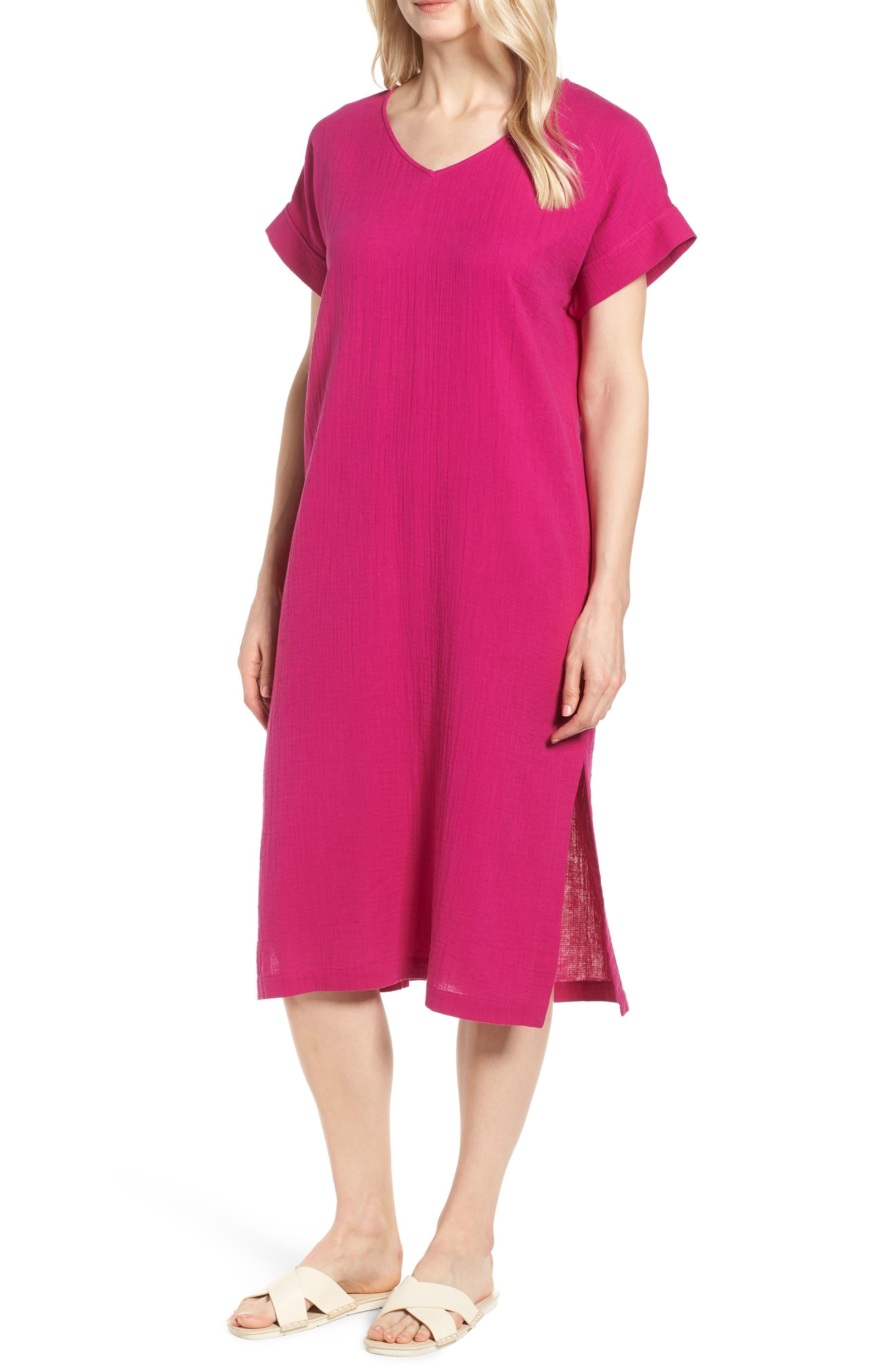 V-Neck Cotton Midi Dress,                             Main thumbnail 1, color,                             Cerise