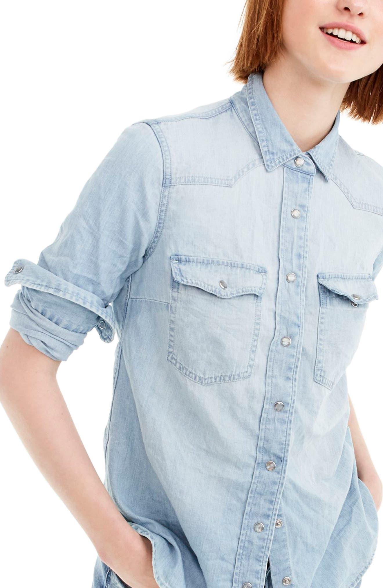 Light Wash Western Shirt,                             Main thumbnail 1, color,                             Clover Wash