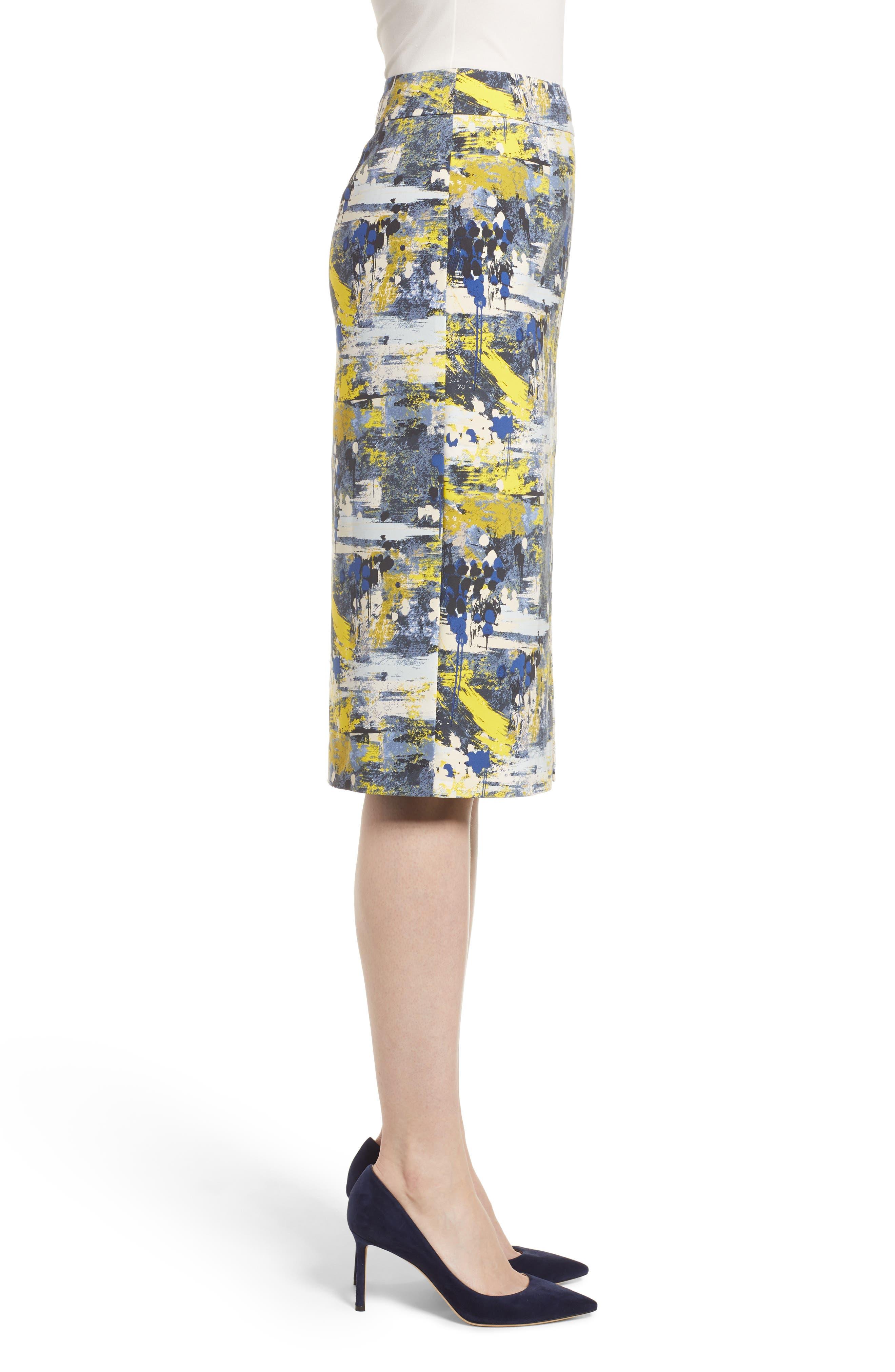 High Waist Skirt,                             Alternate thumbnail 3, color,                             Blue Dot Drip Print