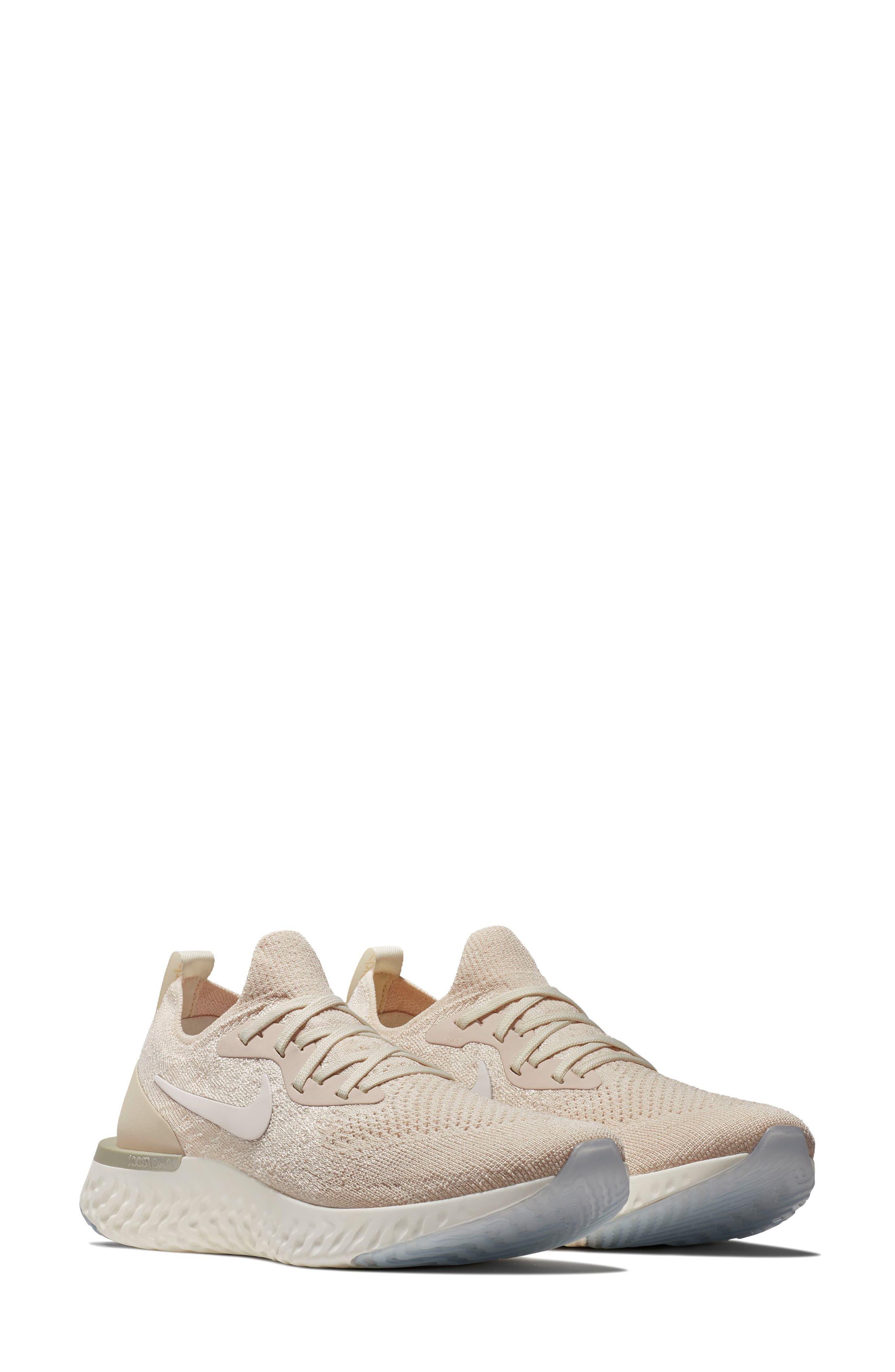 Epic React Flyknit Running Shoe,                         Main,                         color, Light Cream/ Sail