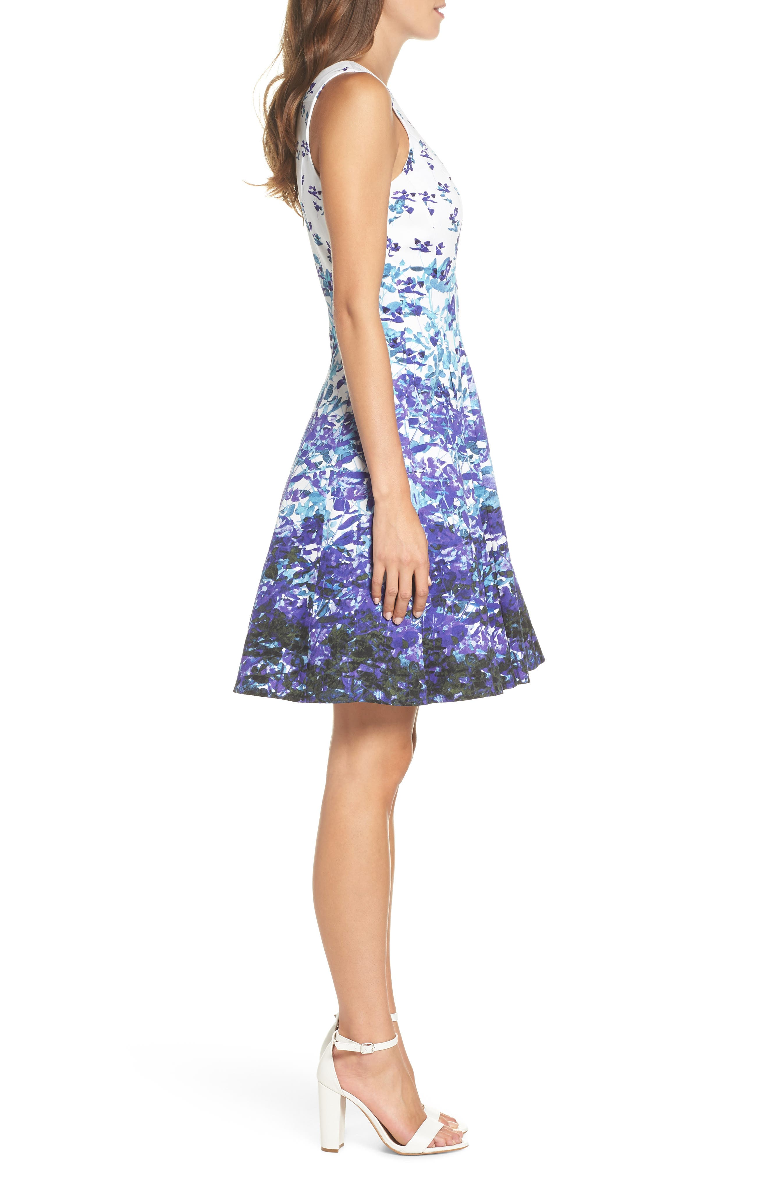 Floral Sateen Fit & Flare Dress,                             Alternate thumbnail 3, color,                             Soft White/ Purple