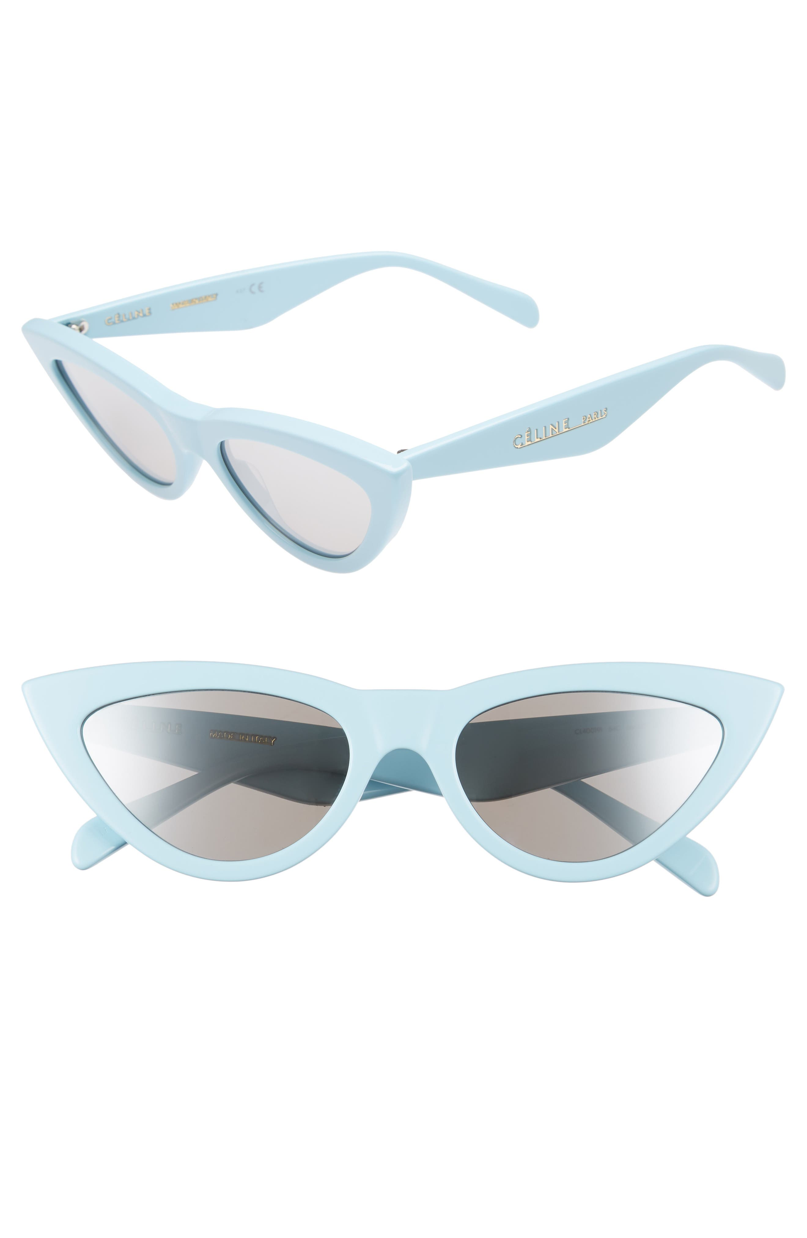 56mm Cat Eye Sunglasses,                         Main,                         color, Light Blue/ Silver Flash