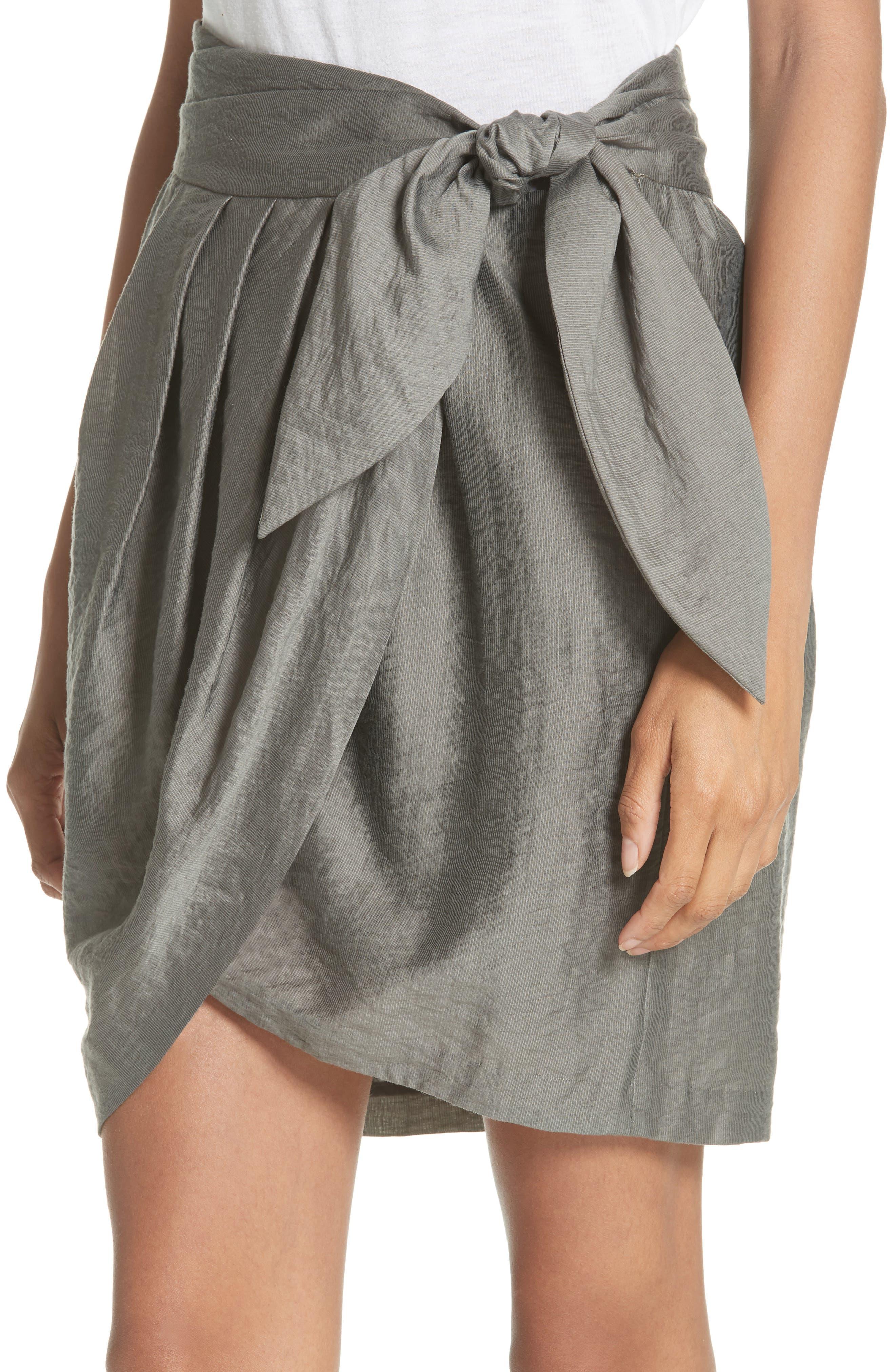 Erlecia Wrap Skirt,                             Alternate thumbnail 3, color,                             Moss