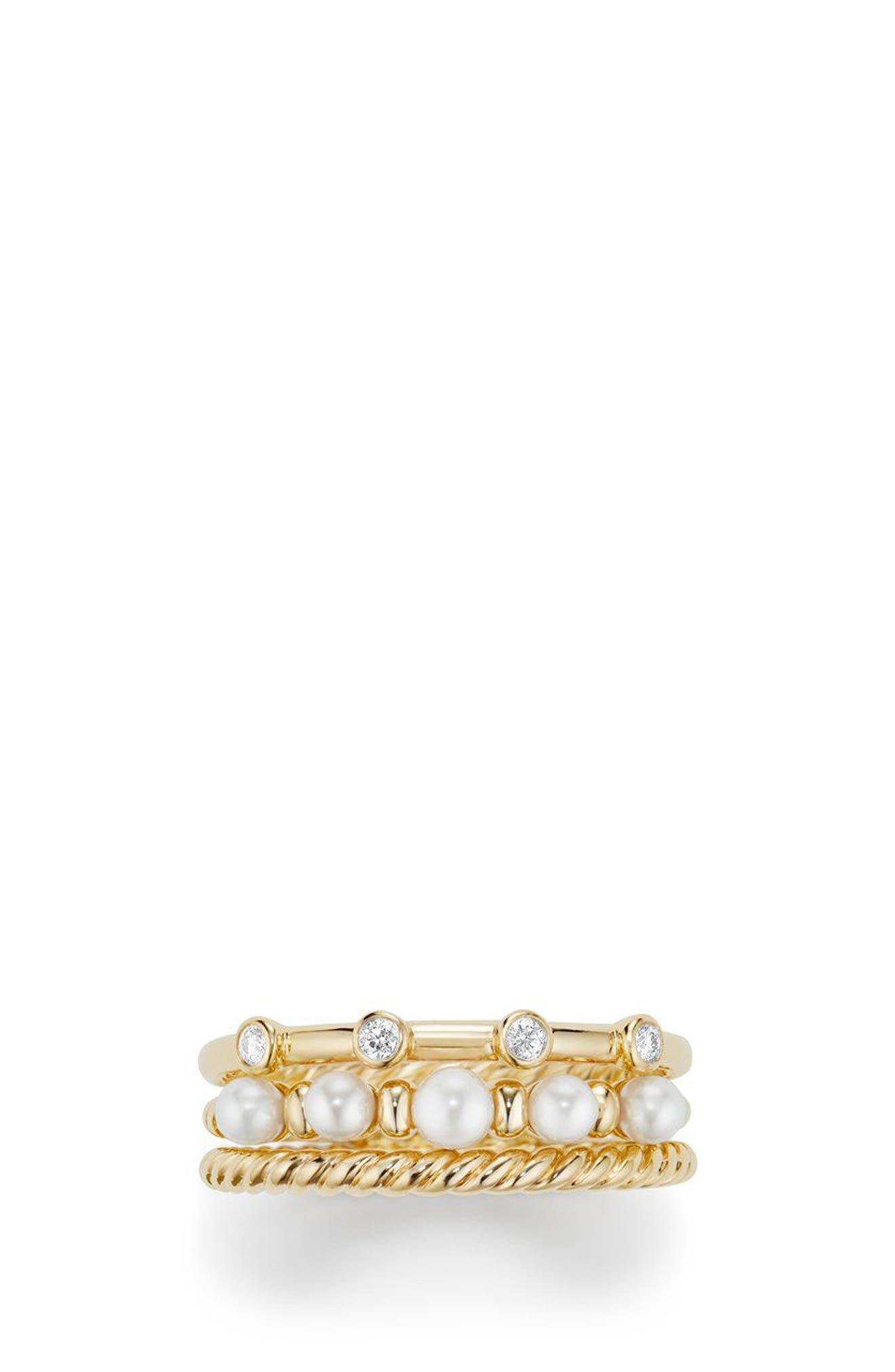 David Yurman Petite Perle Narrow Multi Row Ring with Pearls and Diamonds