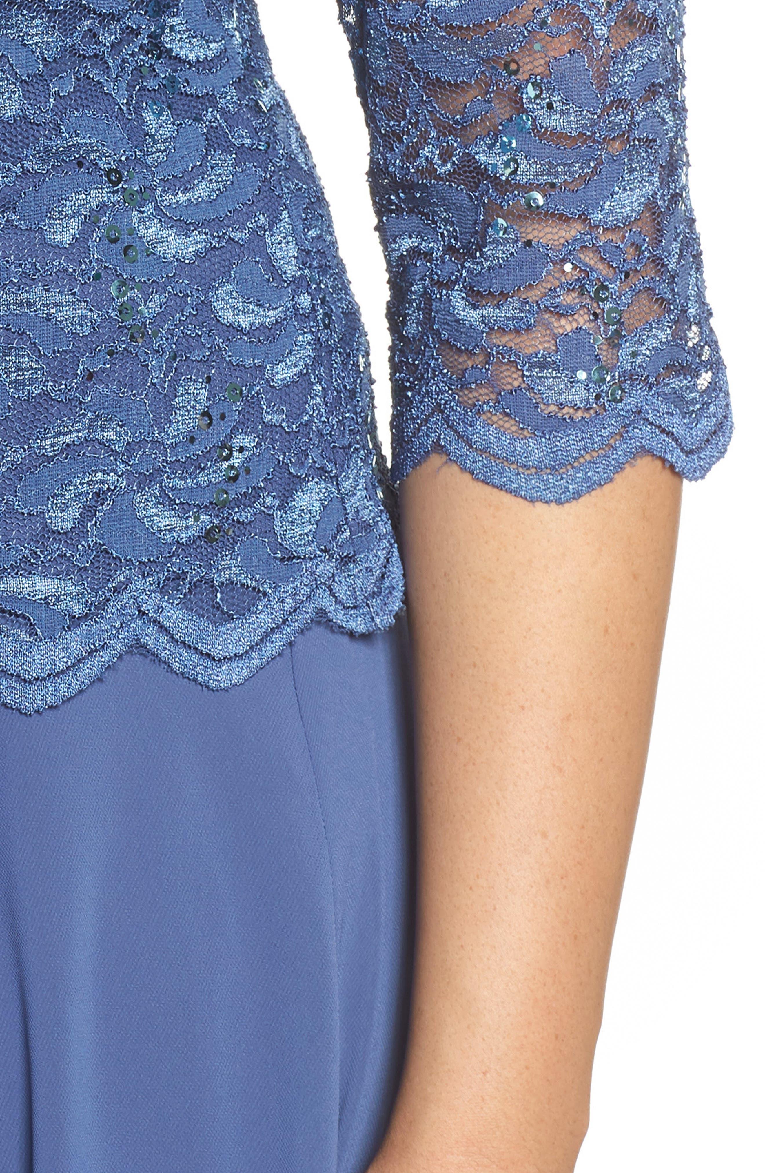 Mock Two-Piece Tea Length Dress,                             Alternate thumbnail 4, color,                             Wedgewood