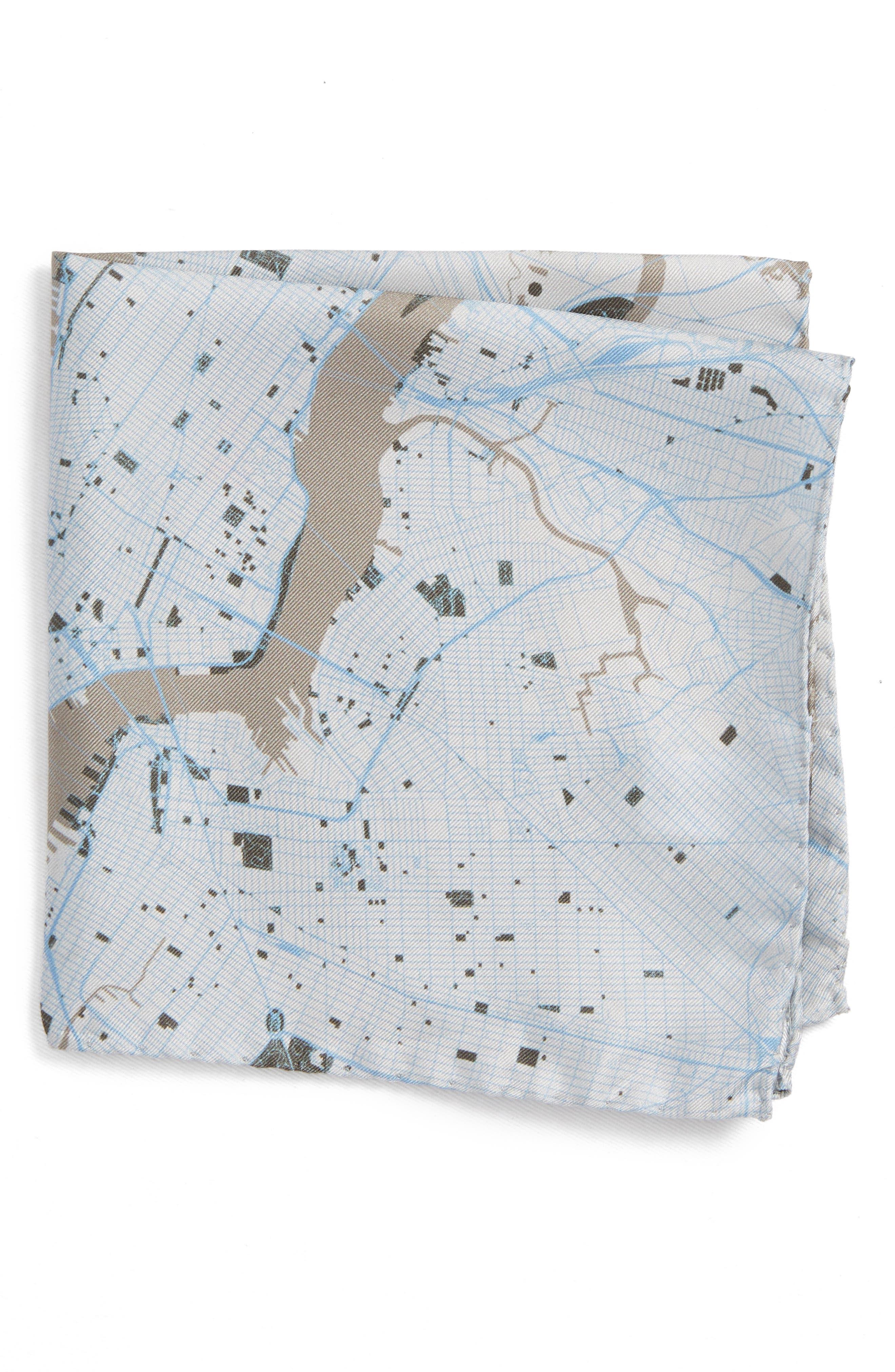 Subway Map Silk Pocket Square,                             Main thumbnail 1, color,                             Grey
