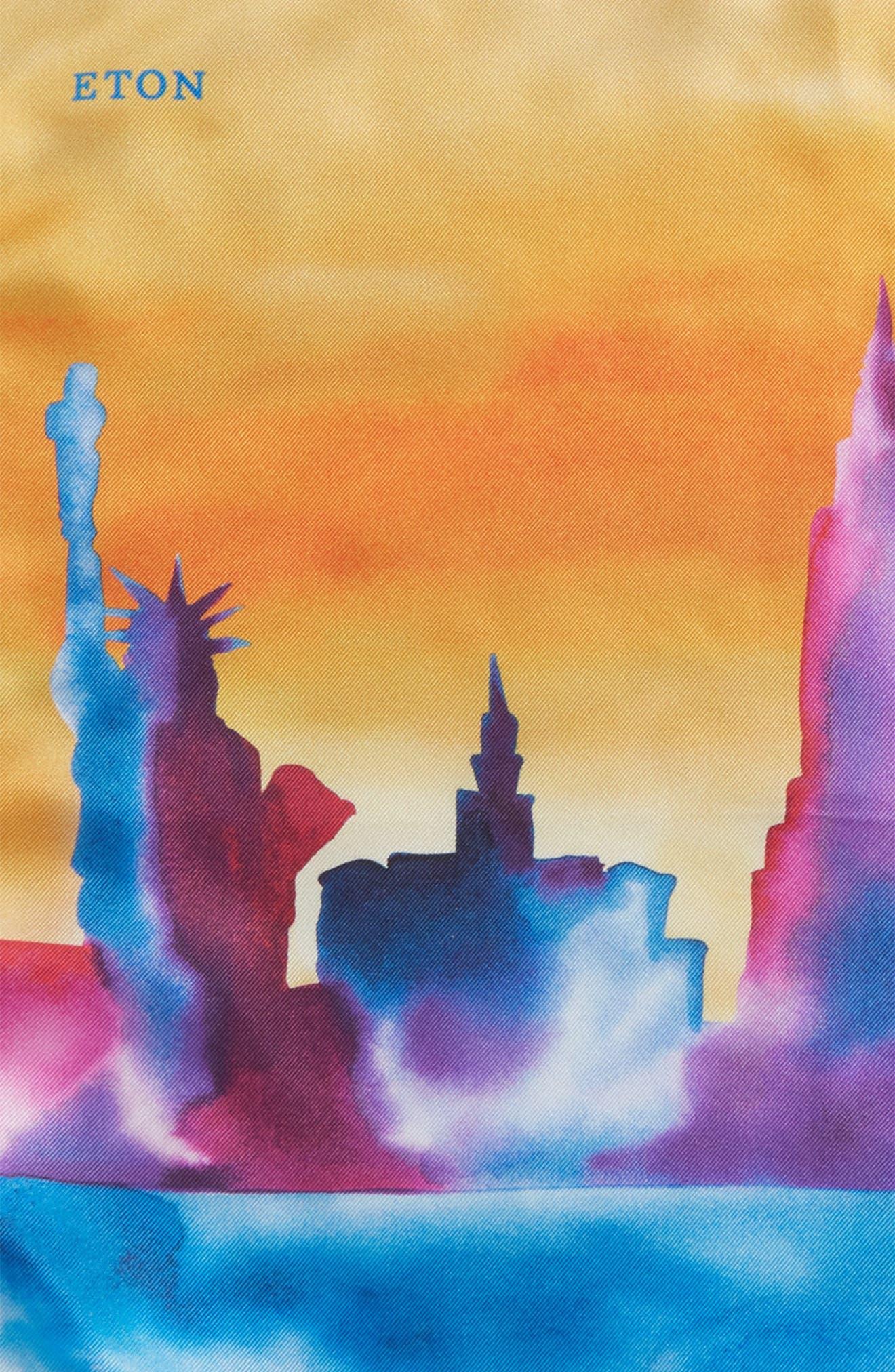 New York Skyline Silk Pocket Square,                             Alternate thumbnail 3, color,                             Orange