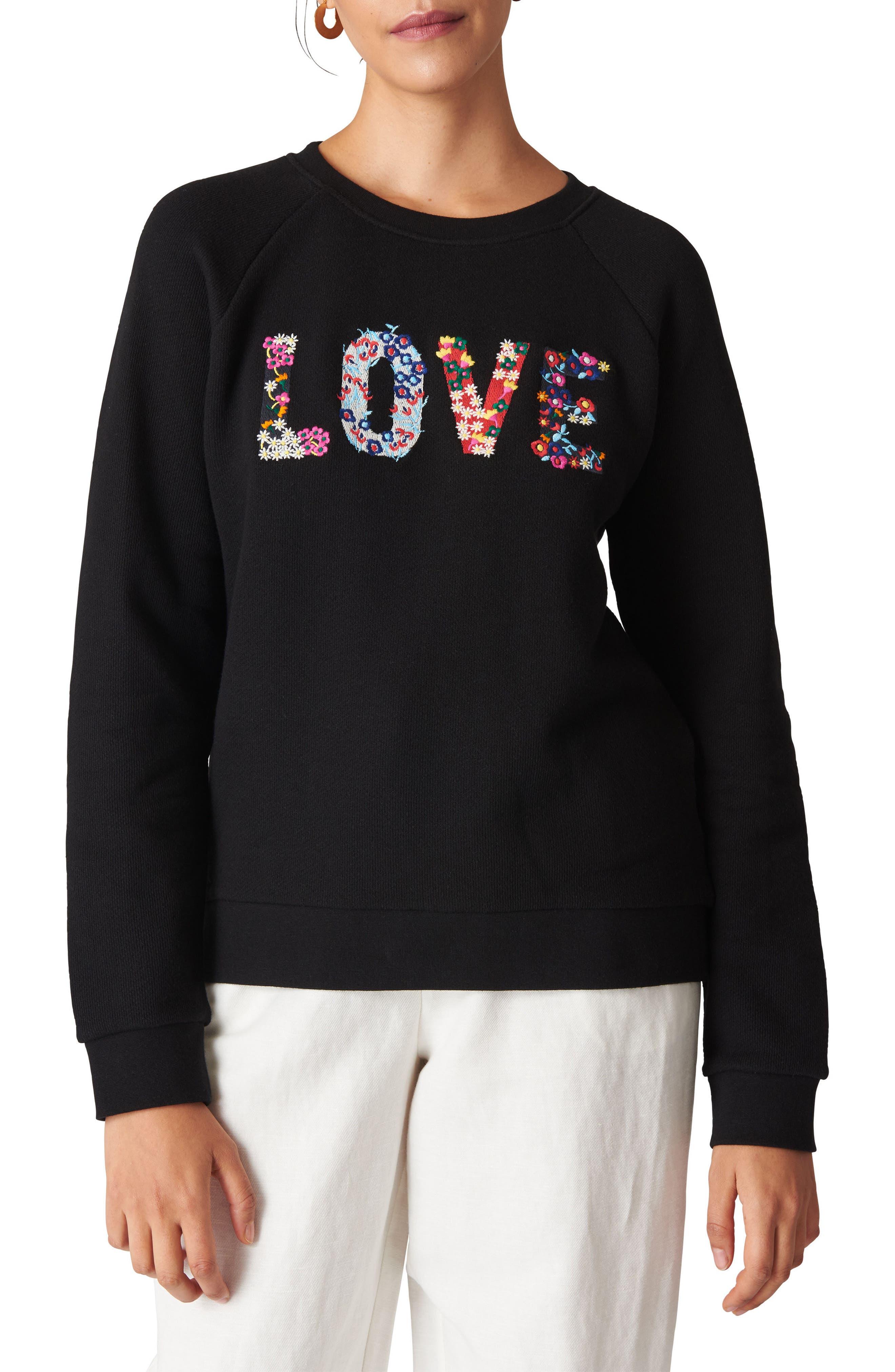Love Embroidered Sweatshirt,                             Main thumbnail 1, color,                             Black