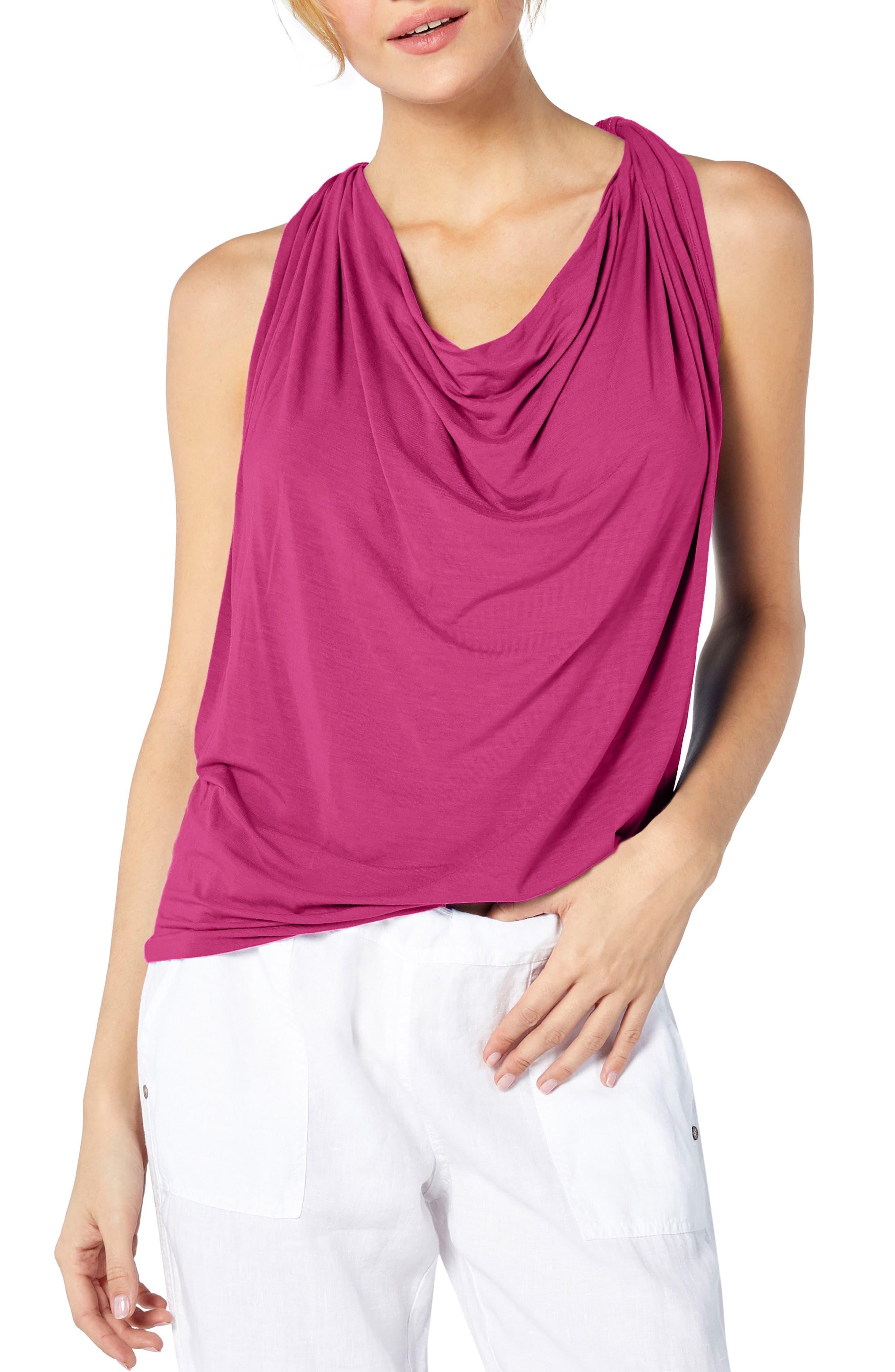 Drape Neck Jersey Top,                         Main,                         color, Calypso
