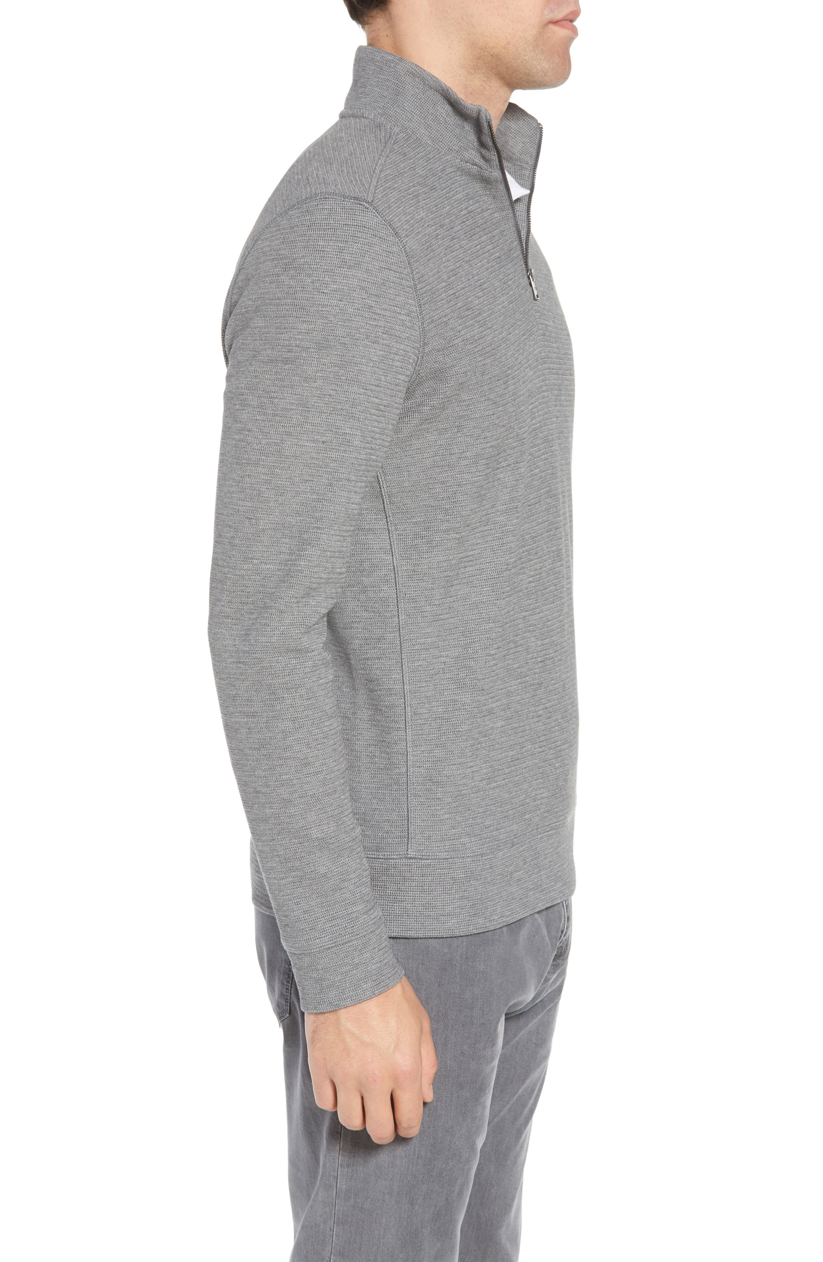 Hugo Boss Regular Fit Sidney Quarter Zip Pullover,                             Alternate thumbnail 3, color,                             Grey