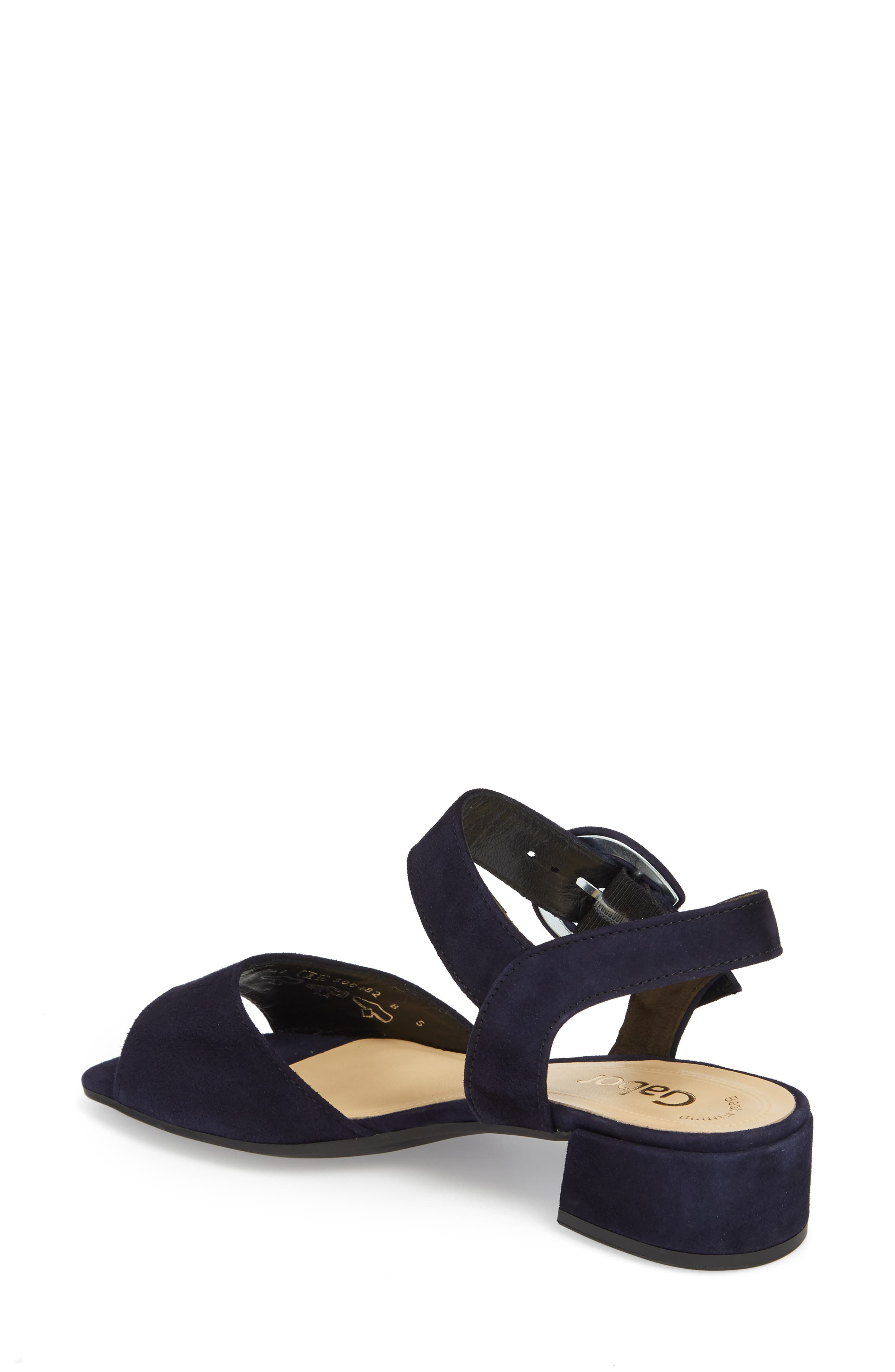 Block Heel Sandal,                             Alternate thumbnail 2, color,                             Navy Suede