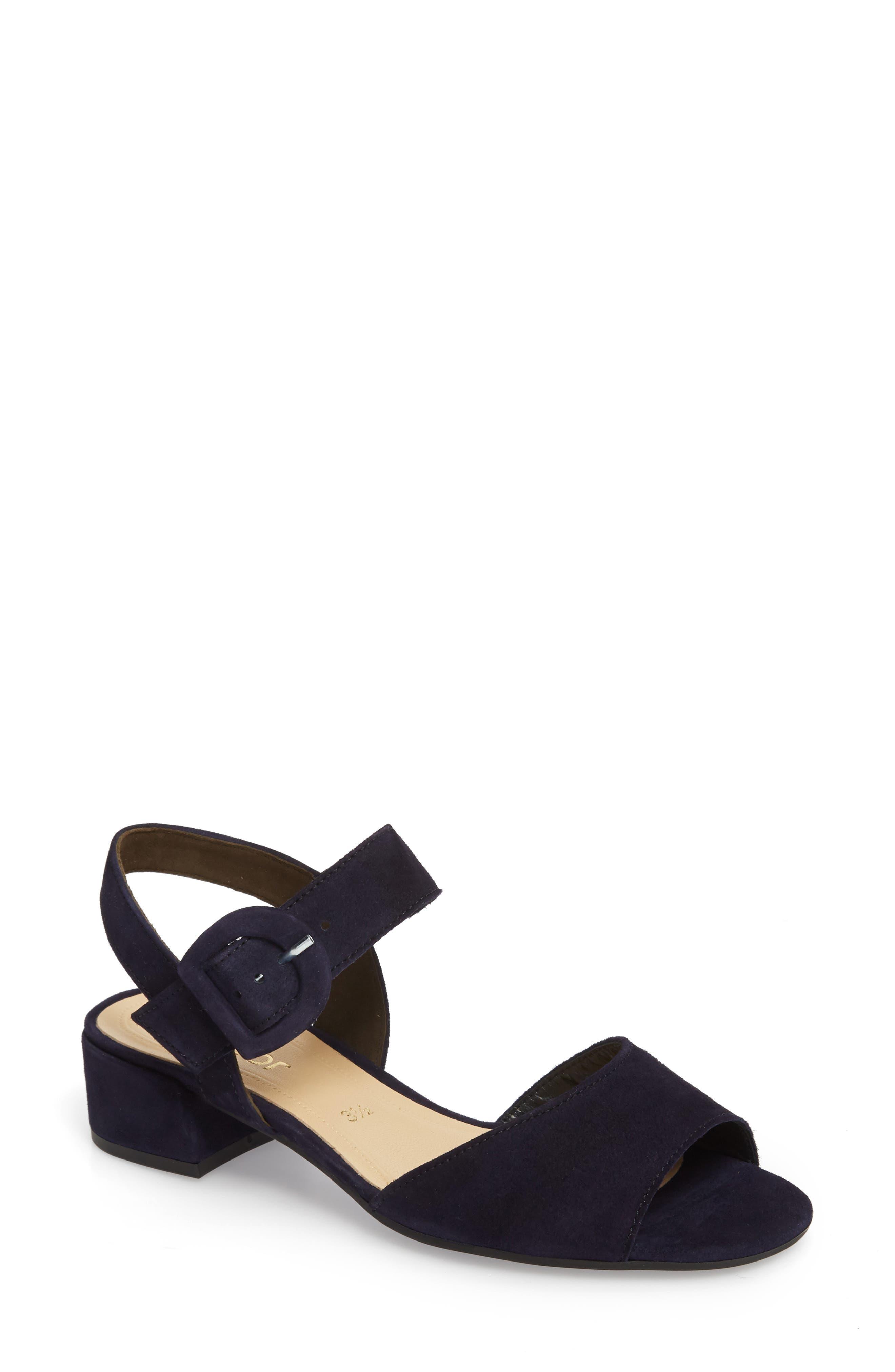 Block Heel Sandal,                         Main,                         color, Navy Suede