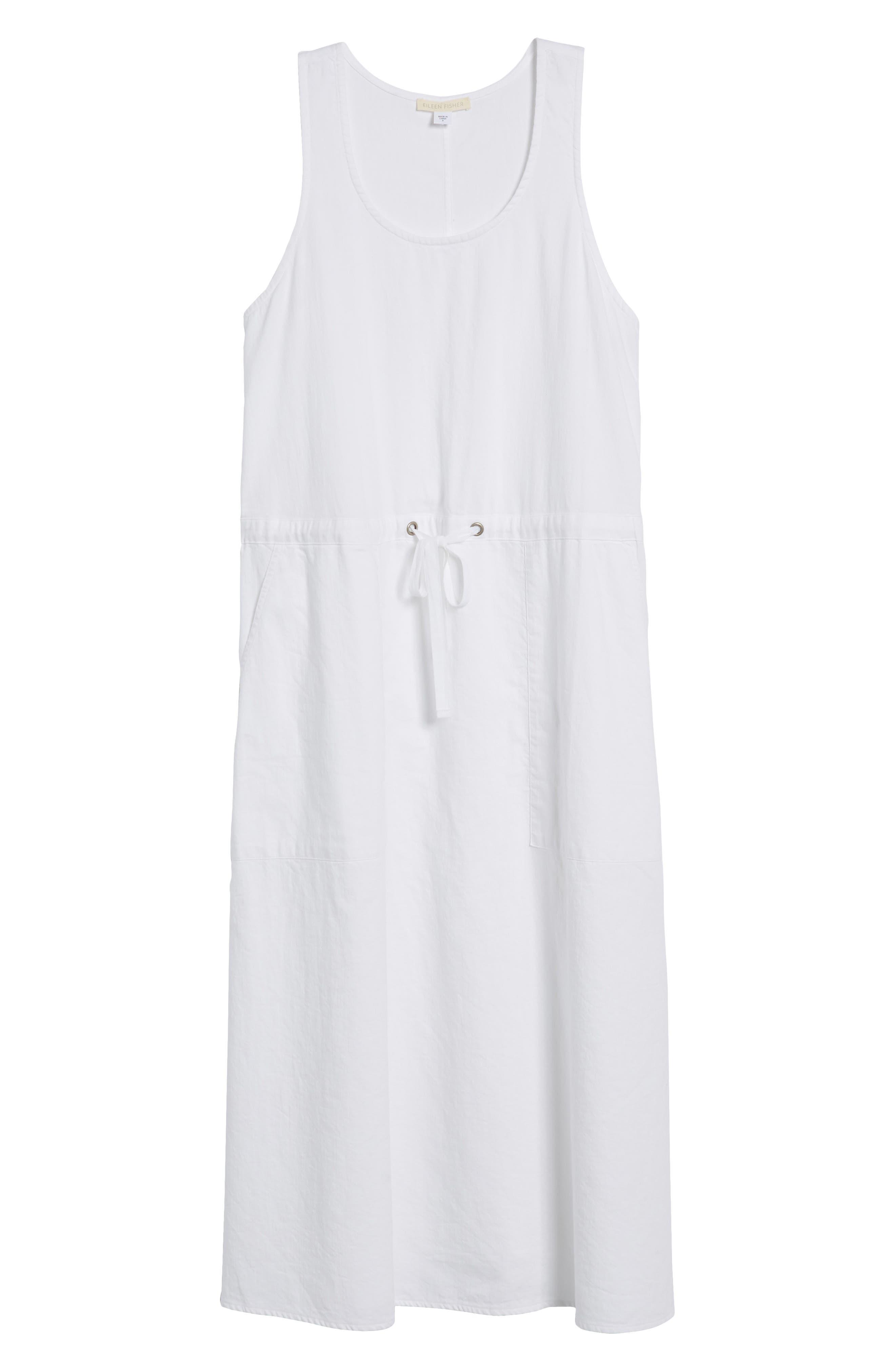 Drawstring Organic Cotton Midi Dress,                             Alternate thumbnail 6, color,                             White