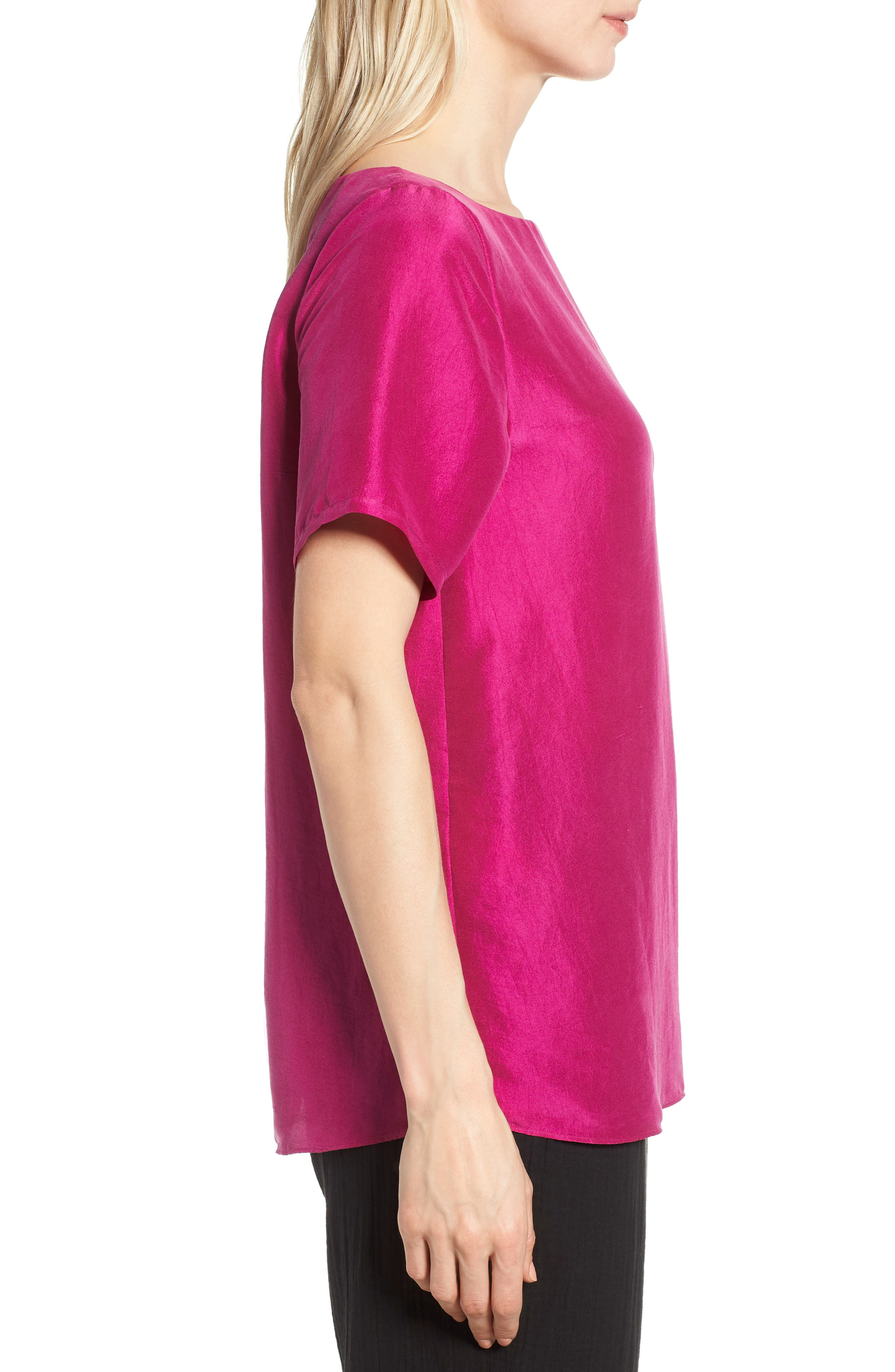 V-Back Silk Top,                             Alternate thumbnail 3, color,                             Cerise