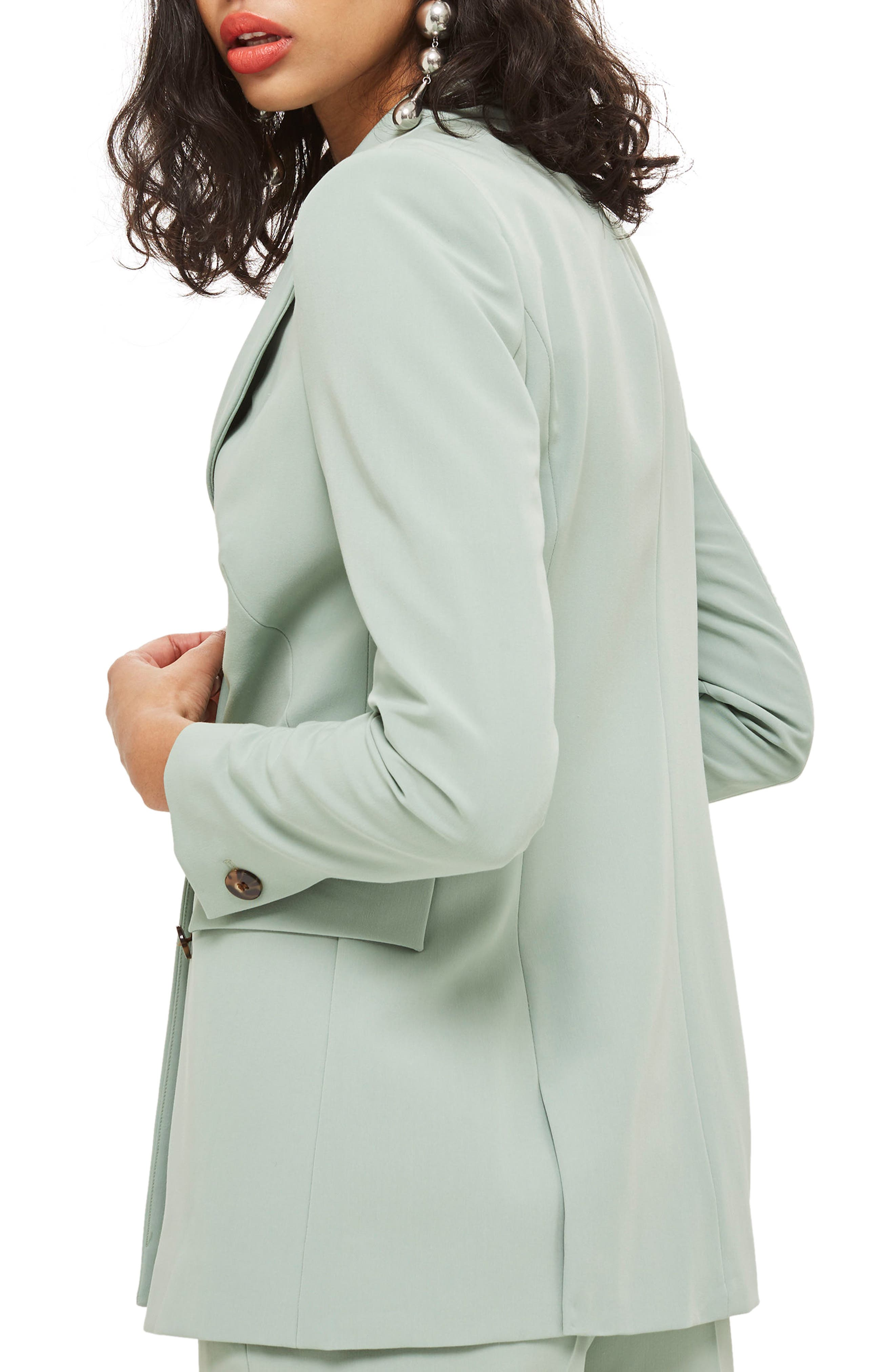 Longline Double Breasted Suit Jacket,                             Alternate thumbnail 3, color,                             Light Green