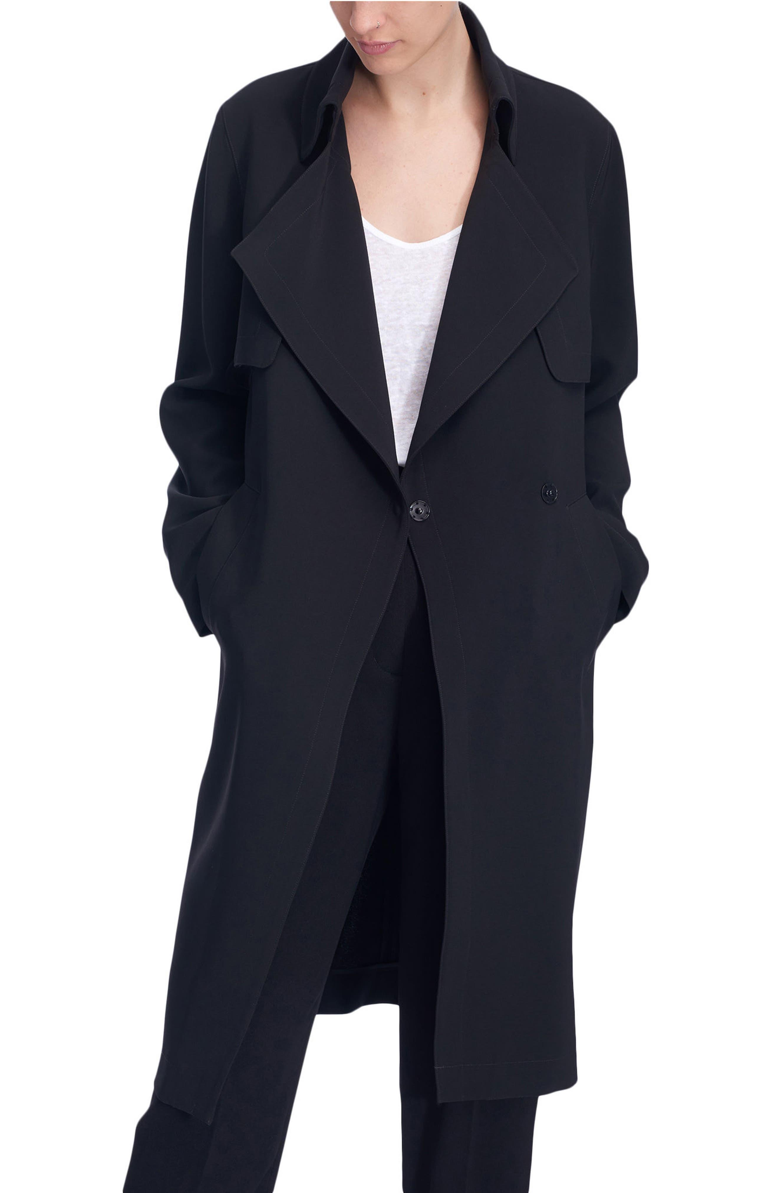 Long Duster Coat,                             Main thumbnail 1, color,                             Black