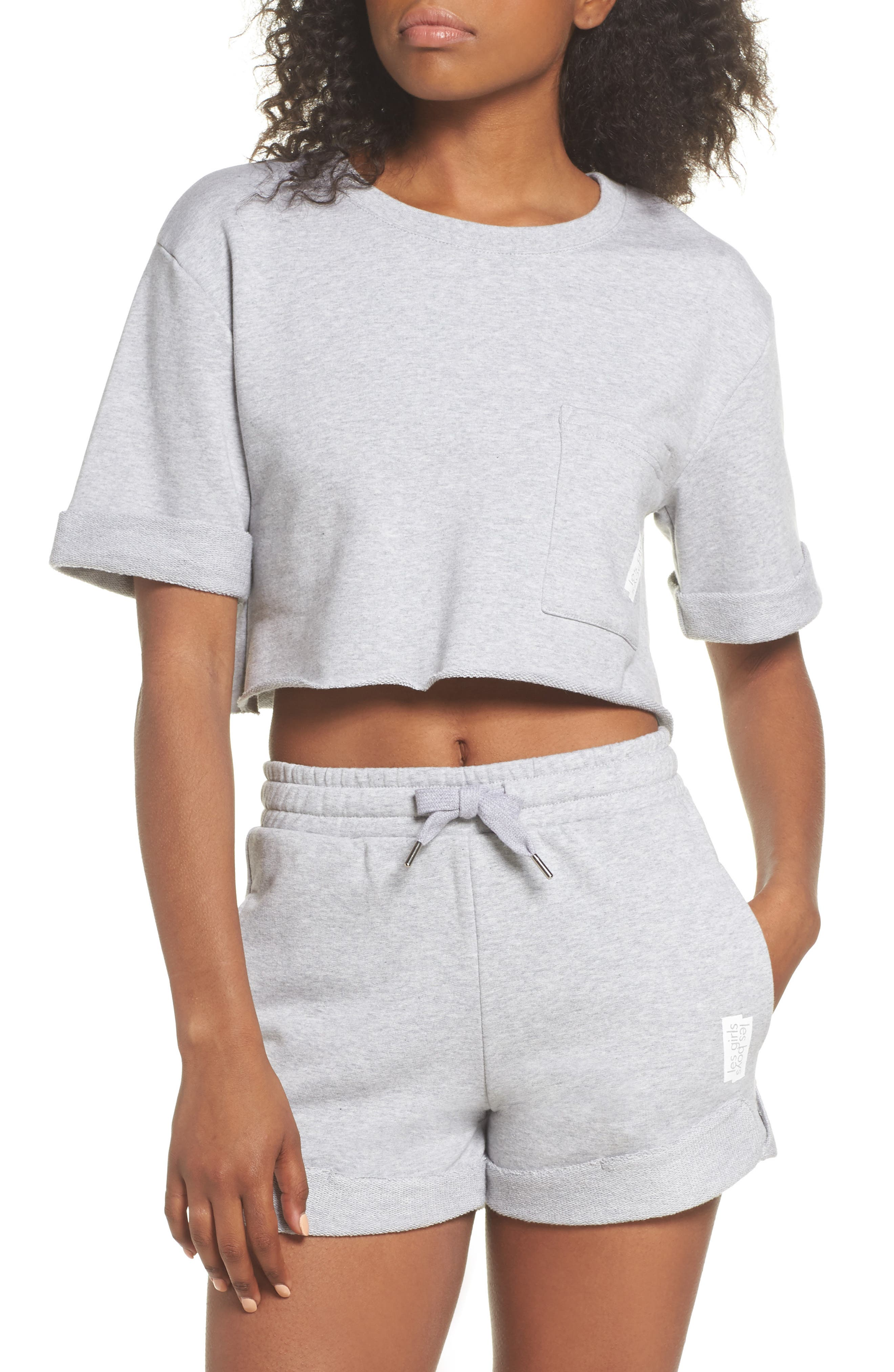 French Terry Crop Sweatshirt,                             Alternate thumbnail 4, color,                             Light Grey Marl