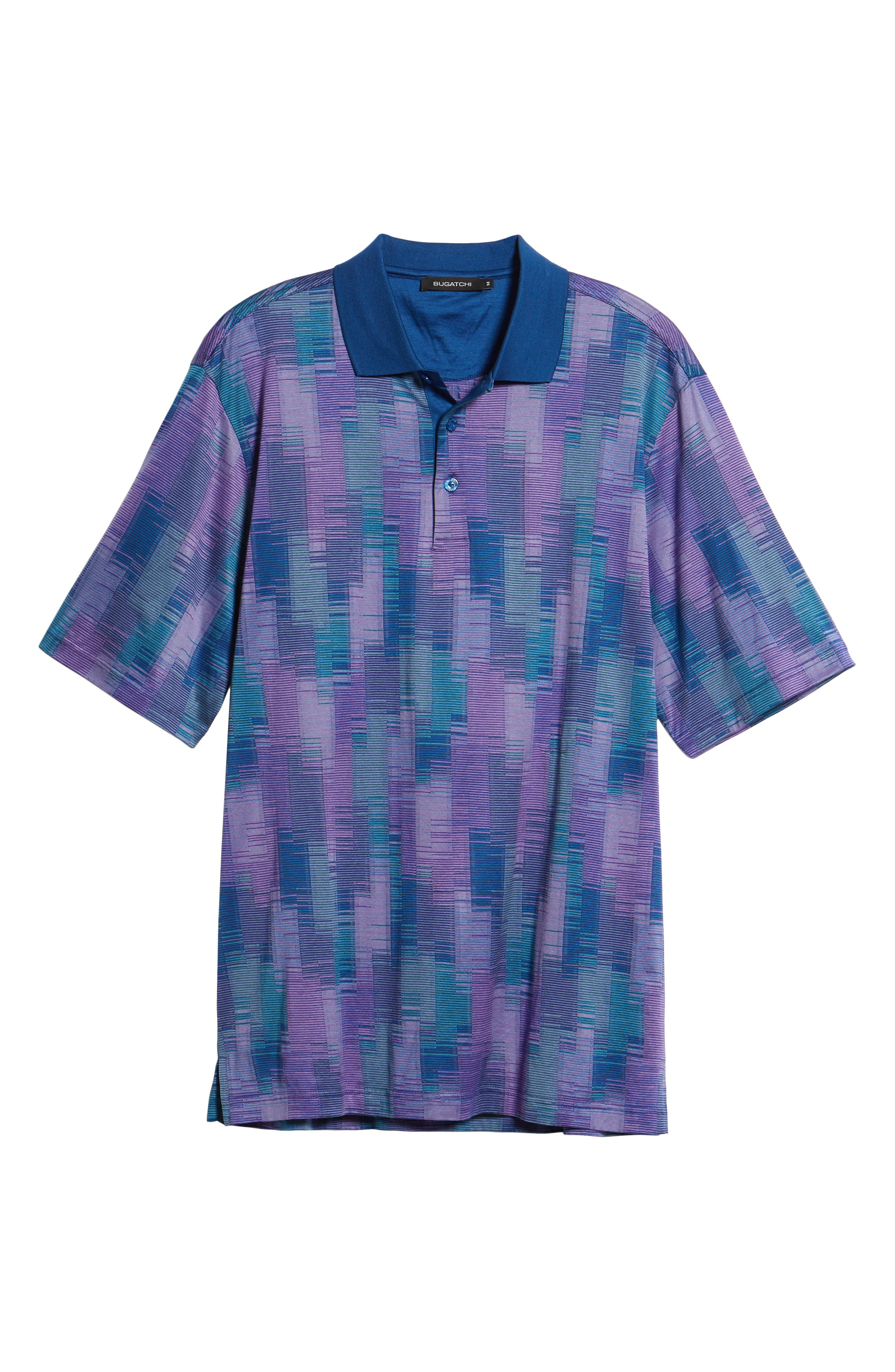 Abstract Stripe Mercerized Cotton Polo,                             Alternate thumbnail 6, color,                             Orchid