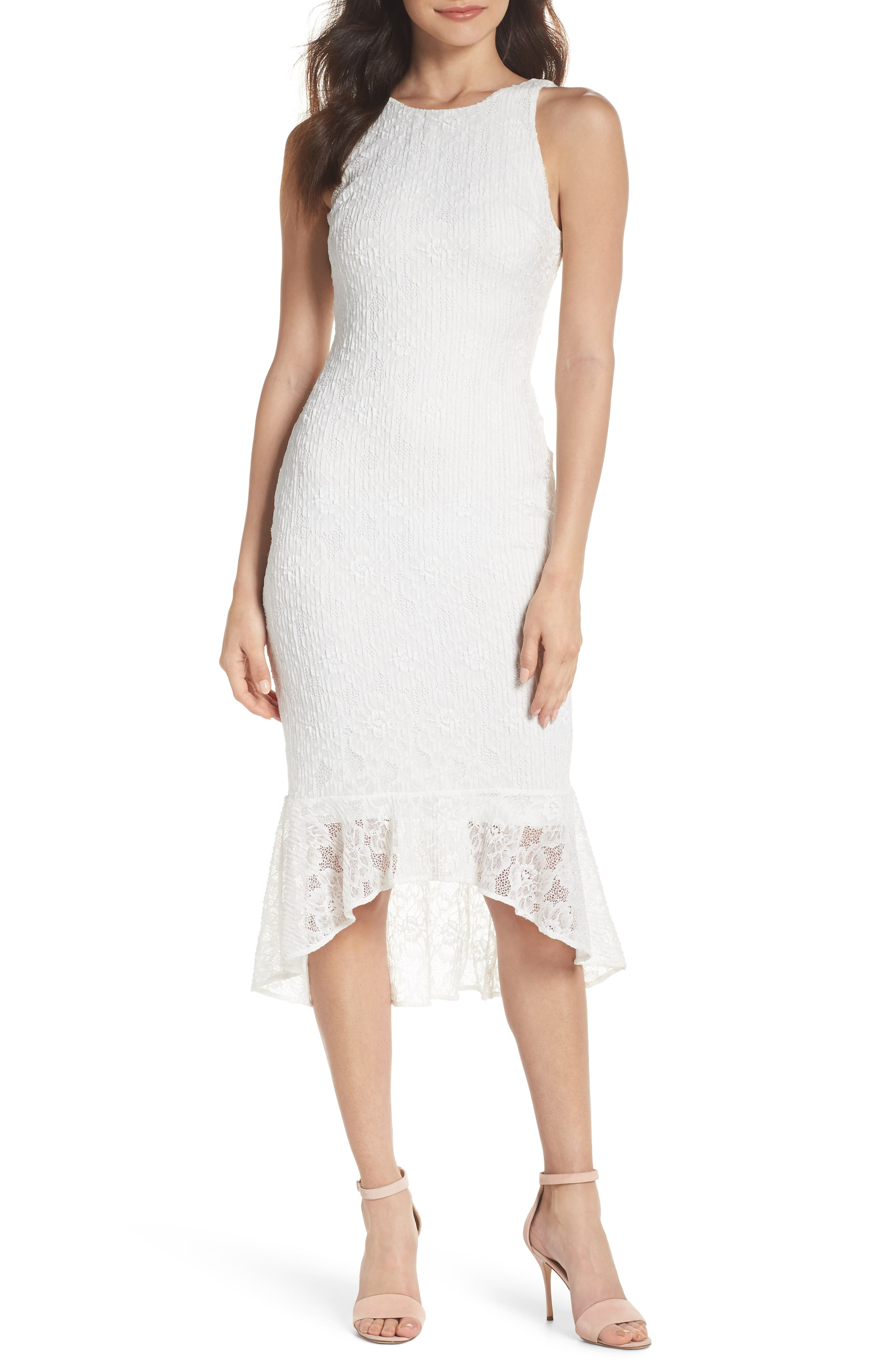 Ali & Jay Sparkling Rose Stretch Lace Midi Dress